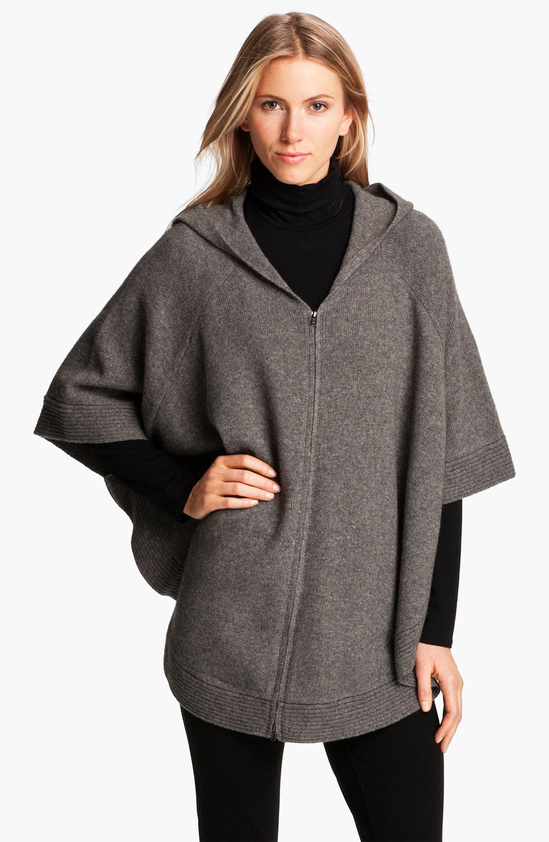Alternate Image 1 Selected - Eileen Fisher Yak & Wool Hooded Poncho