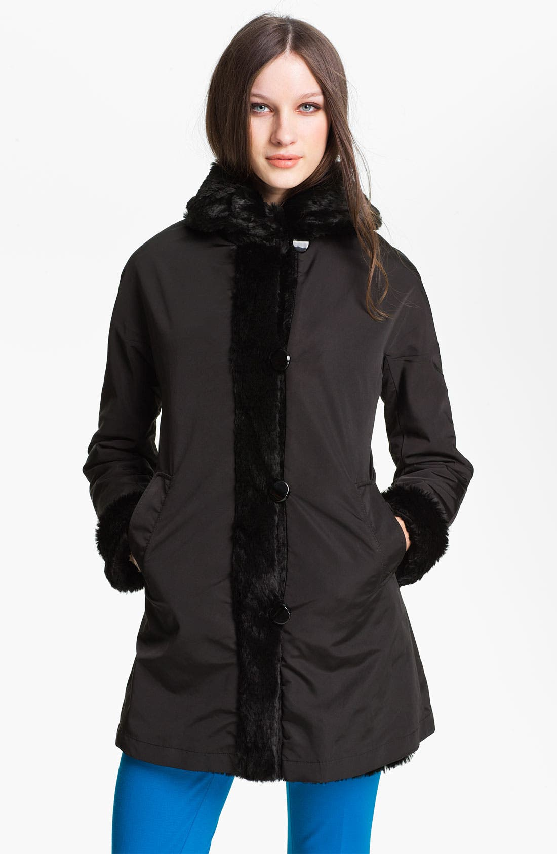 Alternate Image 1 Selected - Ellen Tracy Reversible Faux Fur Storm Coat