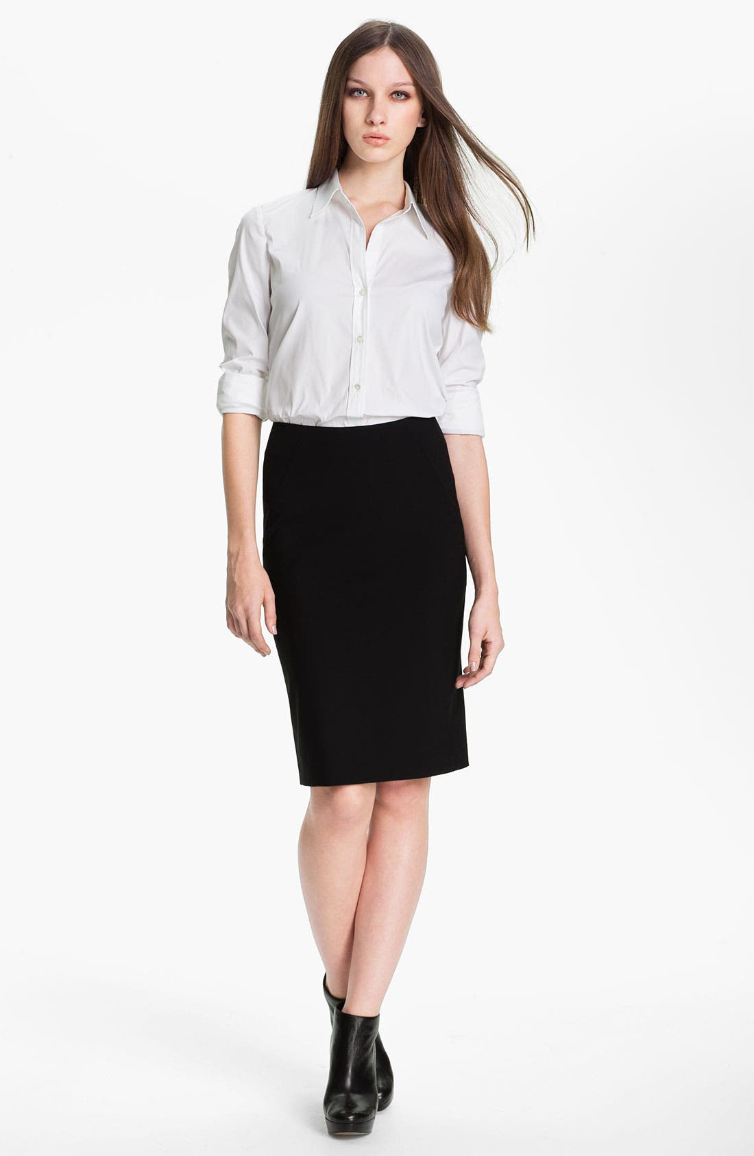 'Golda - Tailor' Pencil Skirt,                             Main thumbnail 1, color,                             Black