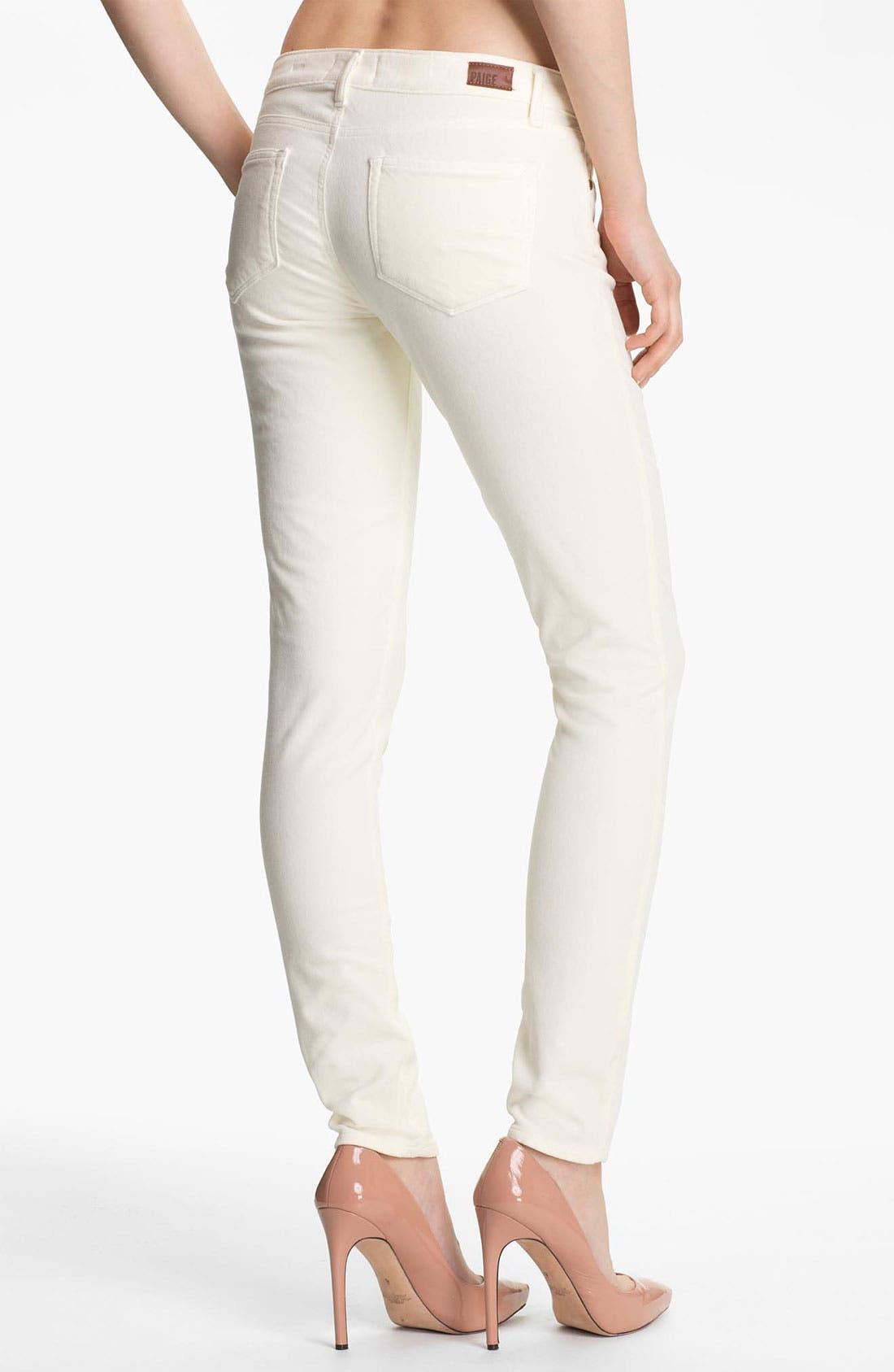 Alternate Image 2  - Paige Denim 'Verdugo' Stretch Velvet Skinny Pants (Cream)