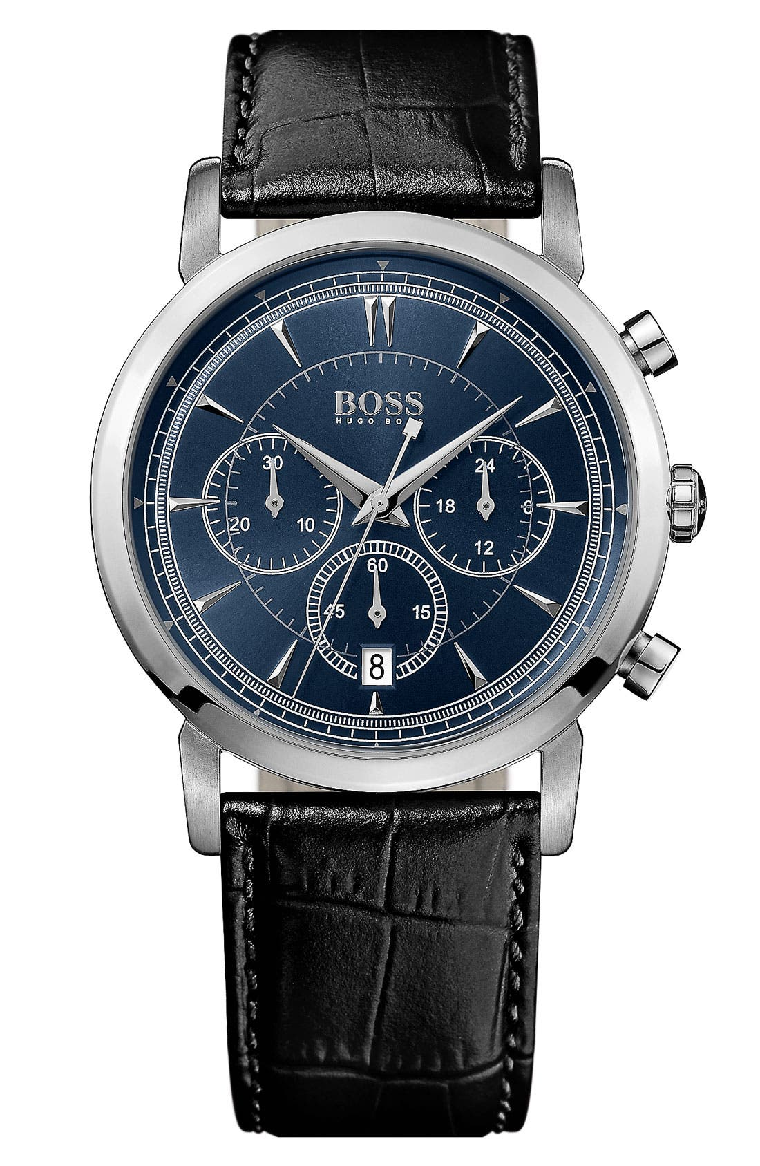 HUGO BOSS 'Classic' Round Chronograph Watch, 40mm,                         Main,                         color, Black/ Blue