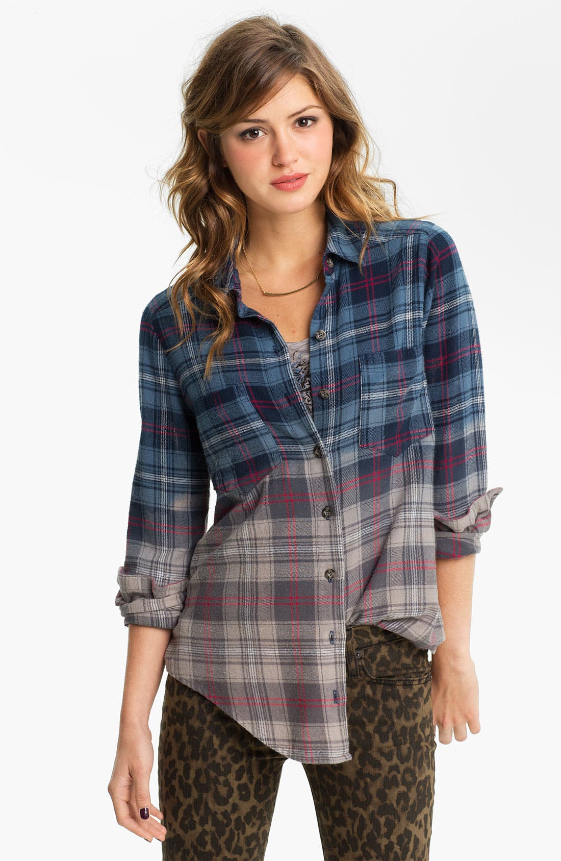 Main Image - Mimi Chica Ombré Plaid Shirt (Juniors)