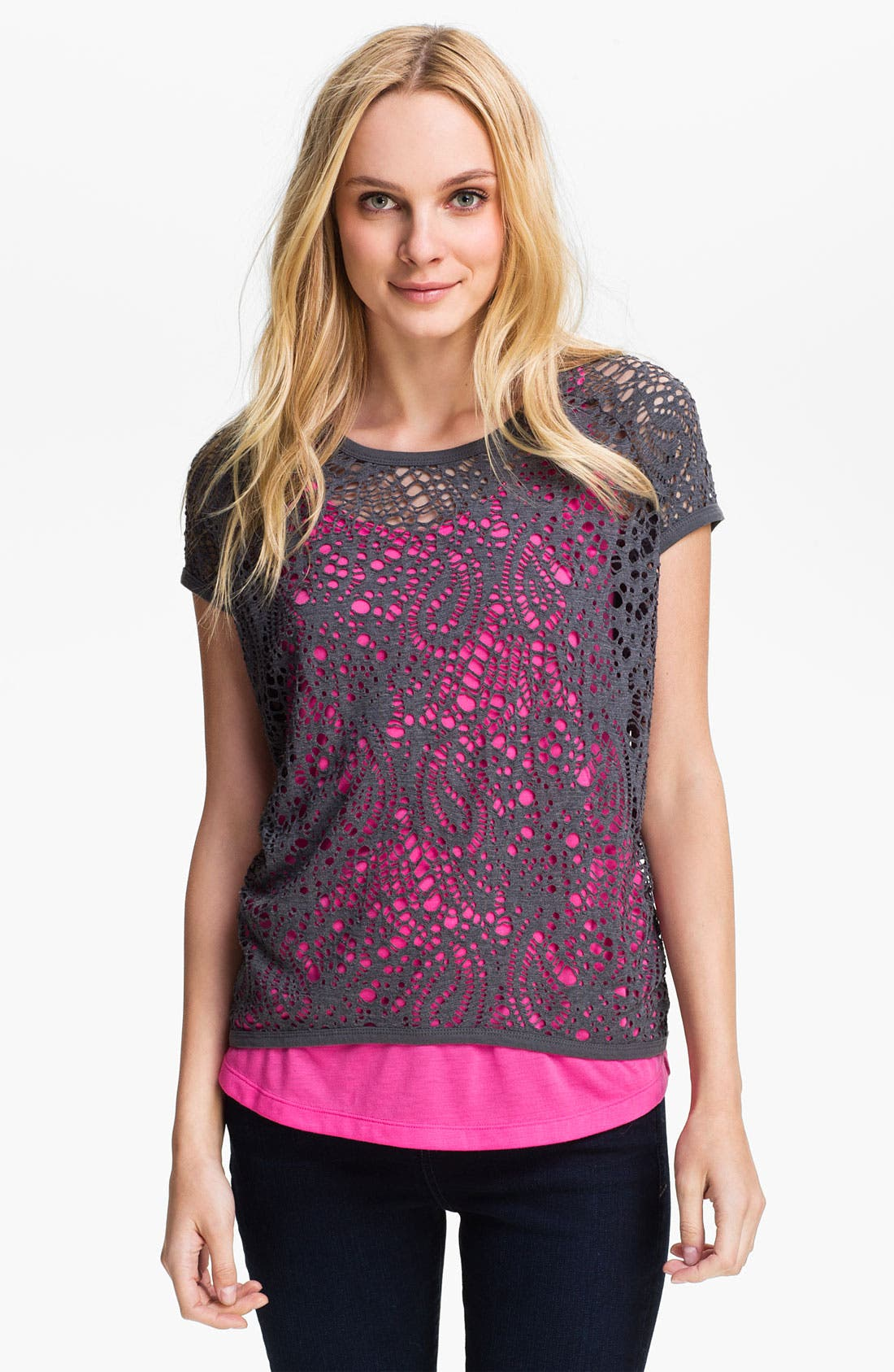 Alternate Image 1 Selected - Two by Vince Camuto Perforated Paisley Top