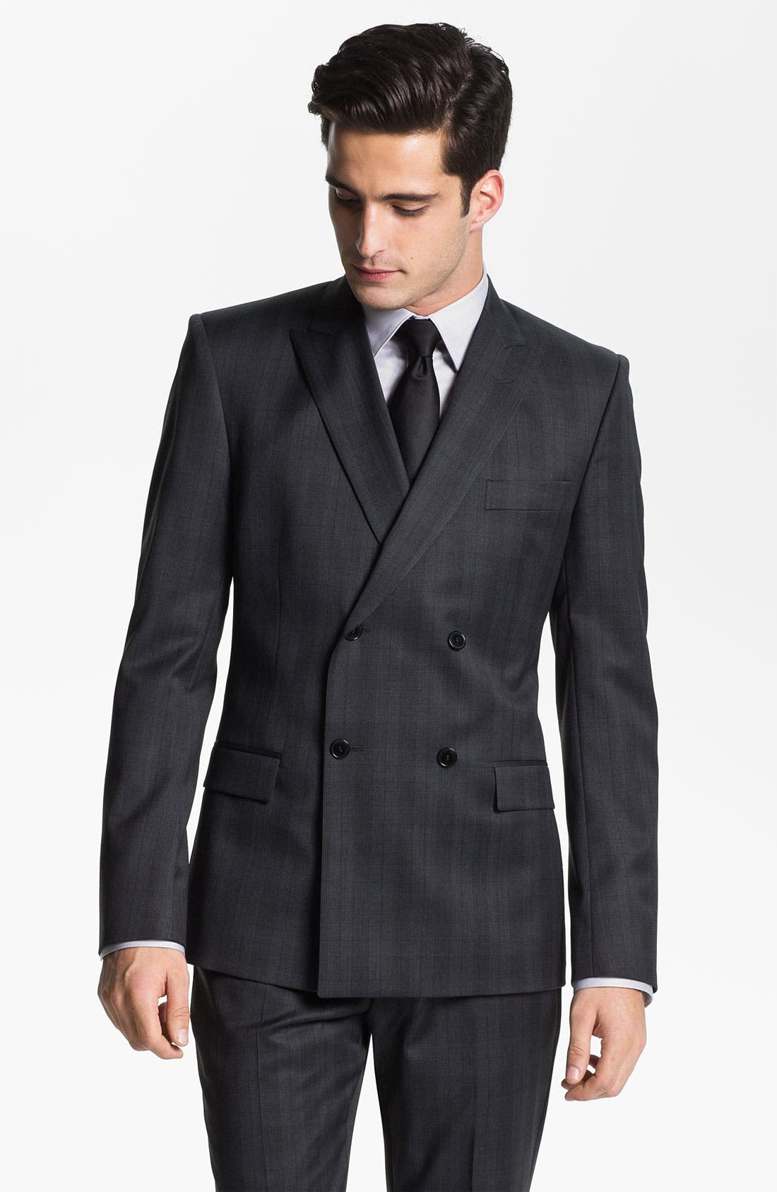 Main Image - Versace Double Breasted Plaid Suit