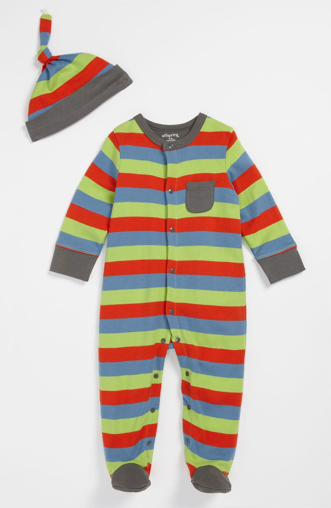 Main Image - Offspring Stripe Footie & Hat (Infant)