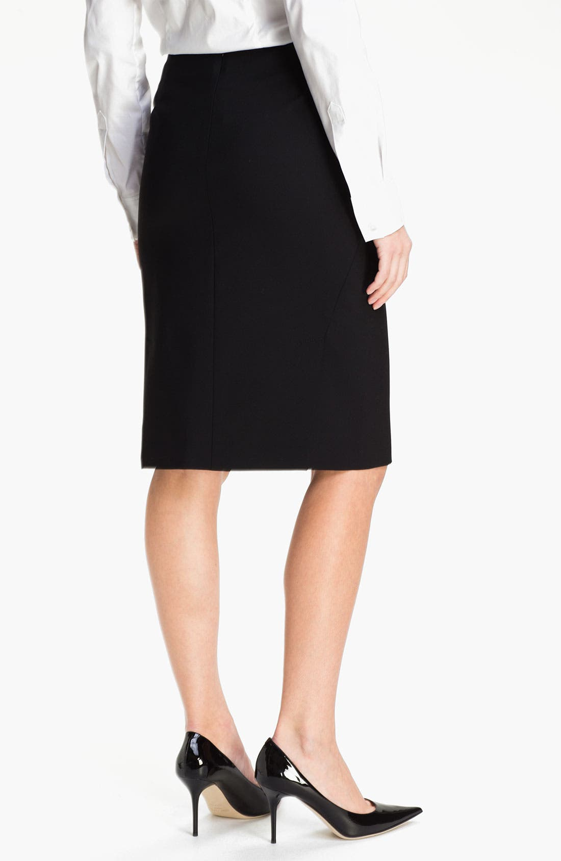 'Golda - Tailor' Pencil Skirt,                             Alternate thumbnail 3, color,                             Black