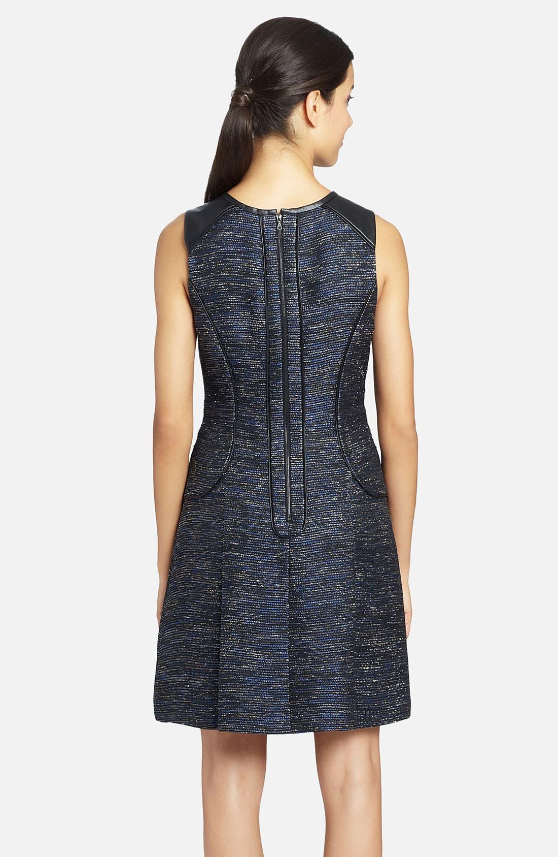 Alternate Image 2  - Cynthia Steffe 'Blair' Faux-Leather Piping Metallic Woven Dress