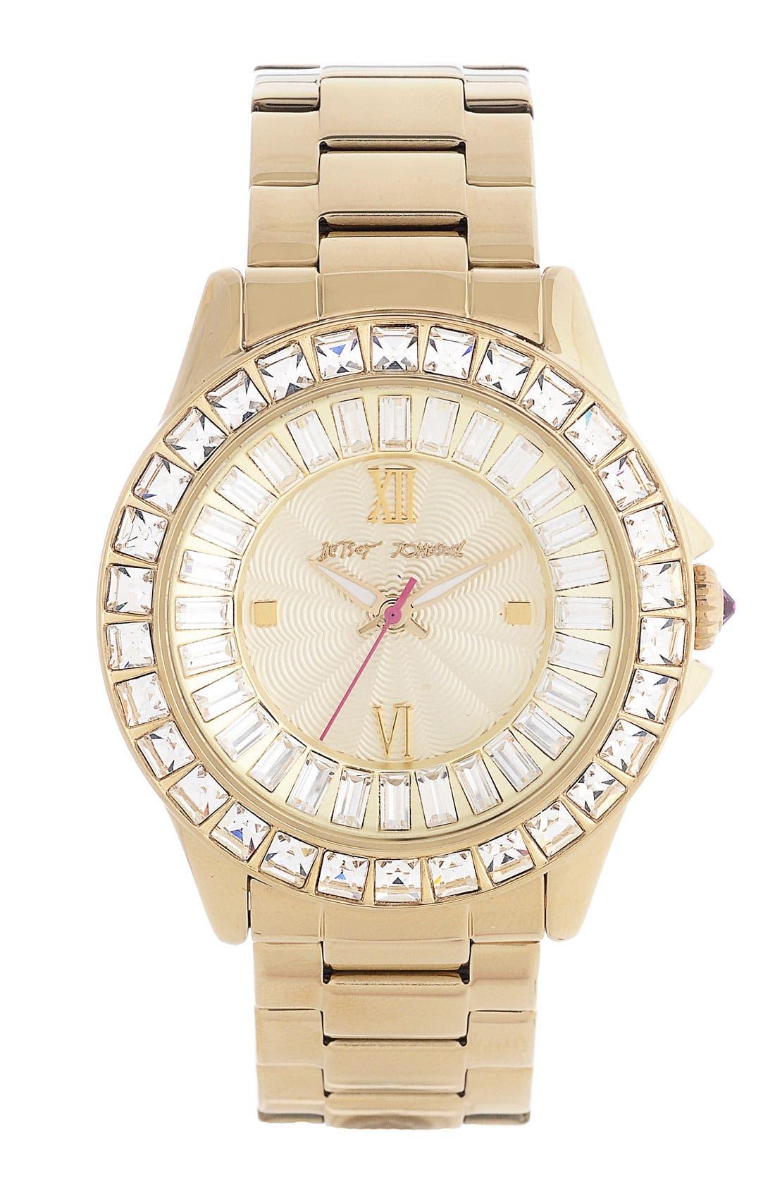 Alternate Image 1 Selected - Betsey Johnson Crystal Bezel Bracelet Watch, 40mm