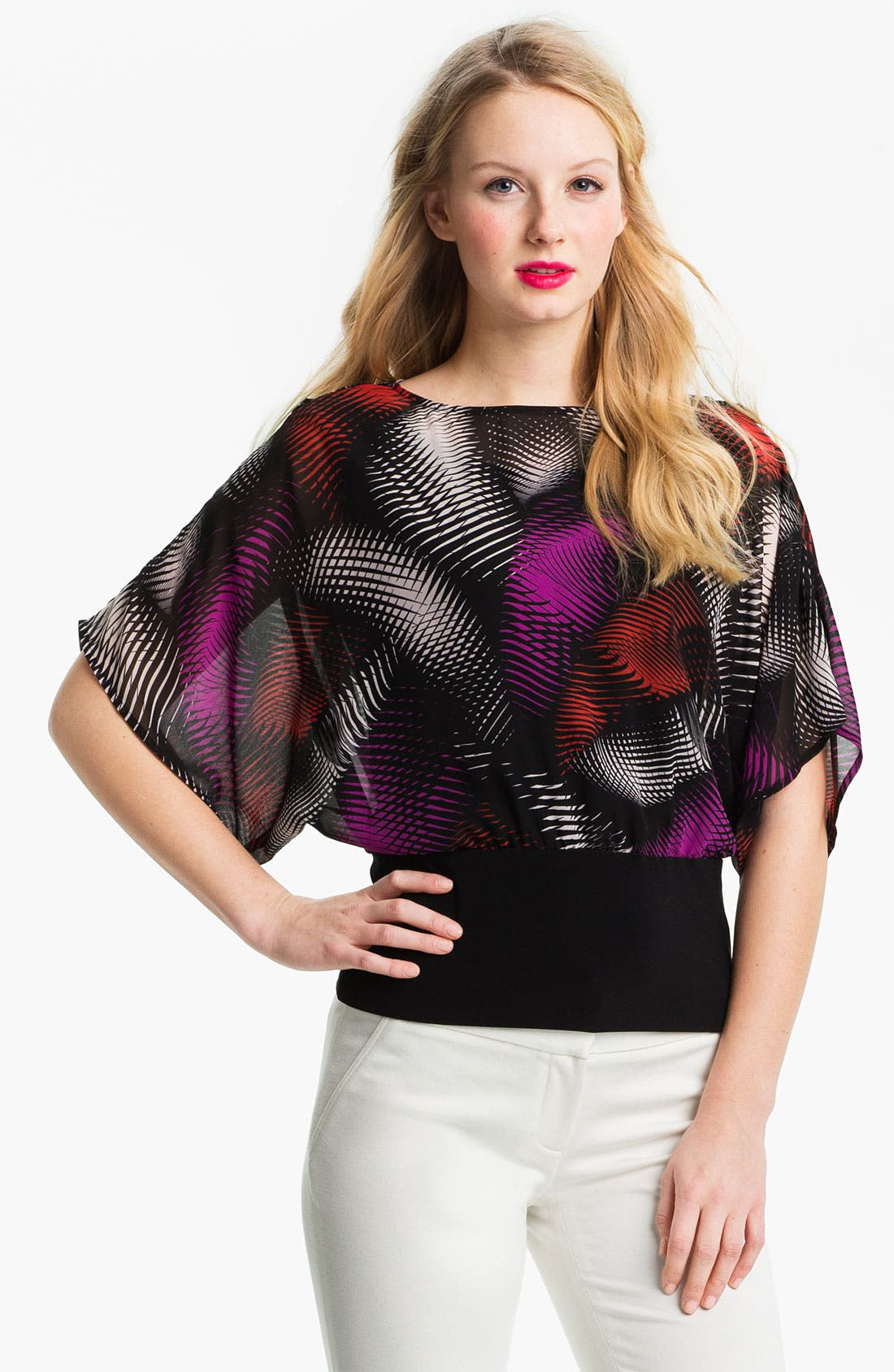 Alternate Image 1 Selected - Vince Camuto 'Palms' Banded Hem Blouse