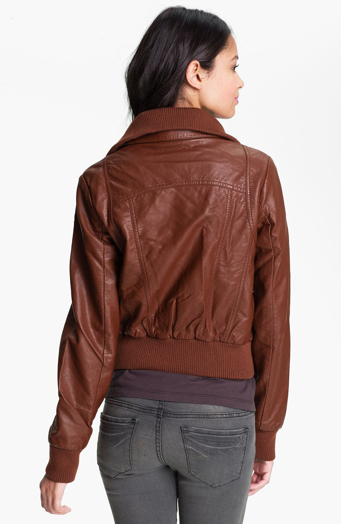 Alternate Image 2  - Thread & Supply Faux Leather Bomber Jacket (Juniors)