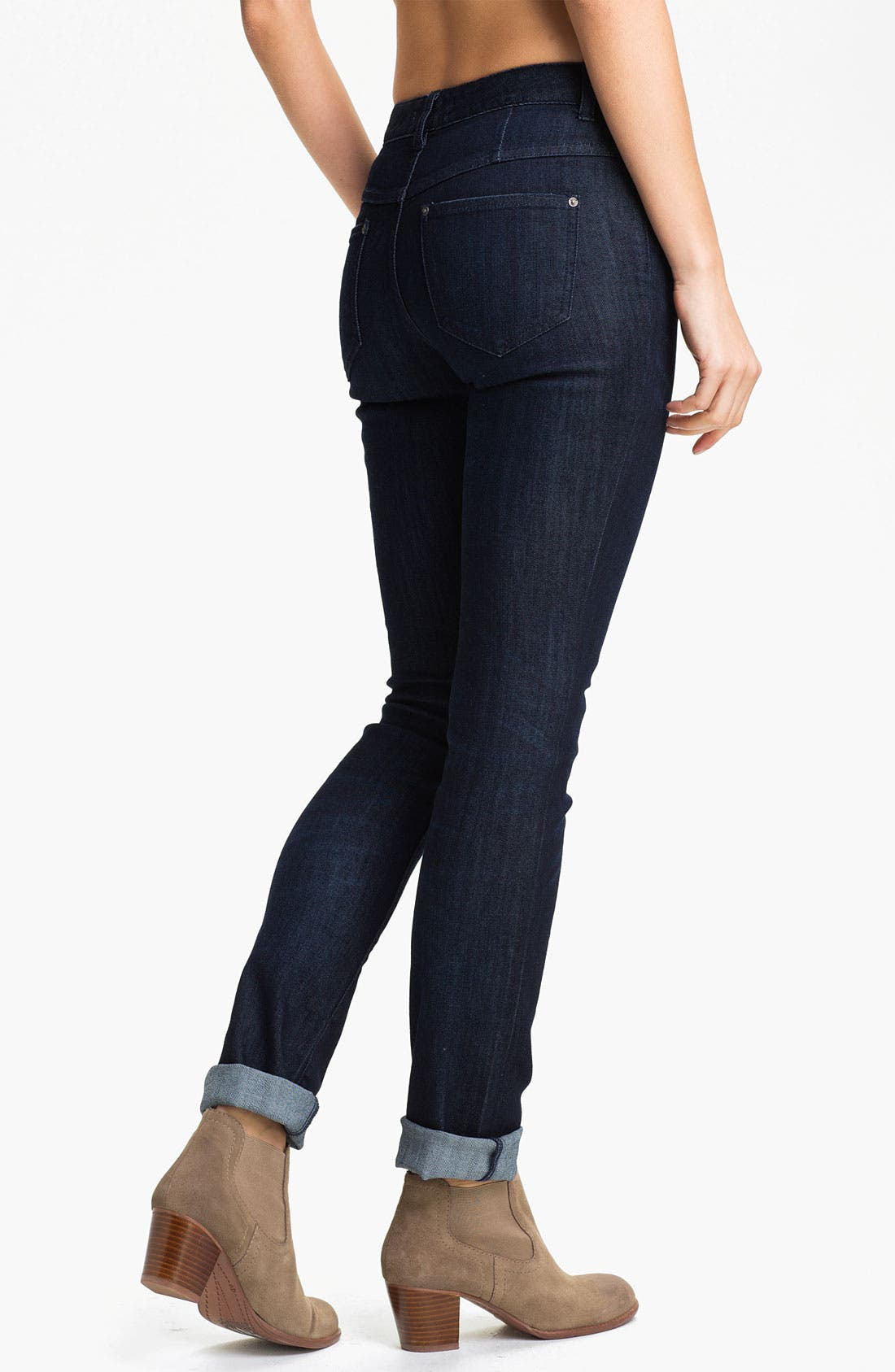 Alternate Image 2  - Free People Stretch Denim Skinny Jeans (Dark Eagle Blue Wash)