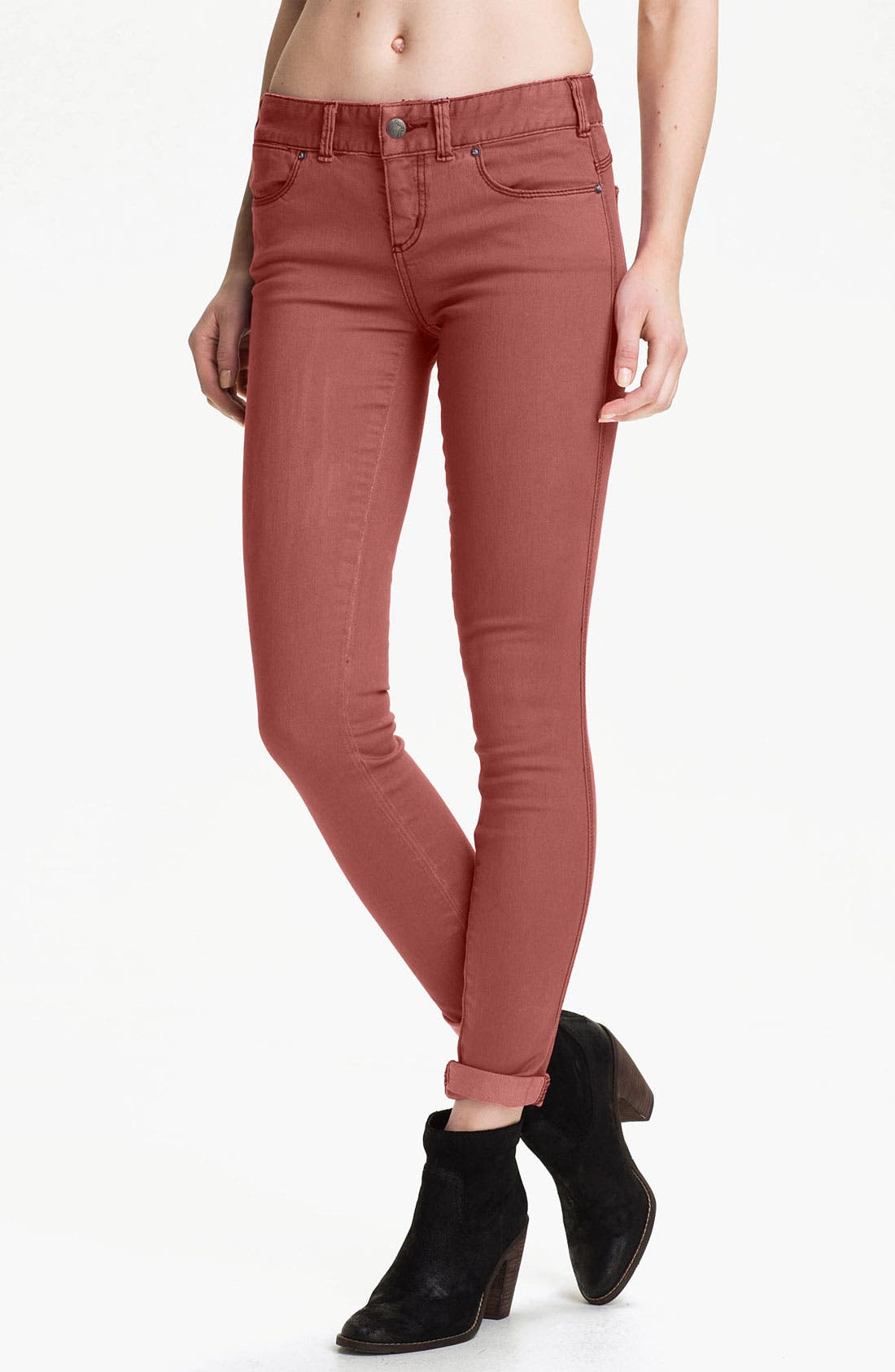 Alternate Image 1 Selected - Free People Colored Stretch Denim Skinny Jeans (Maroon)