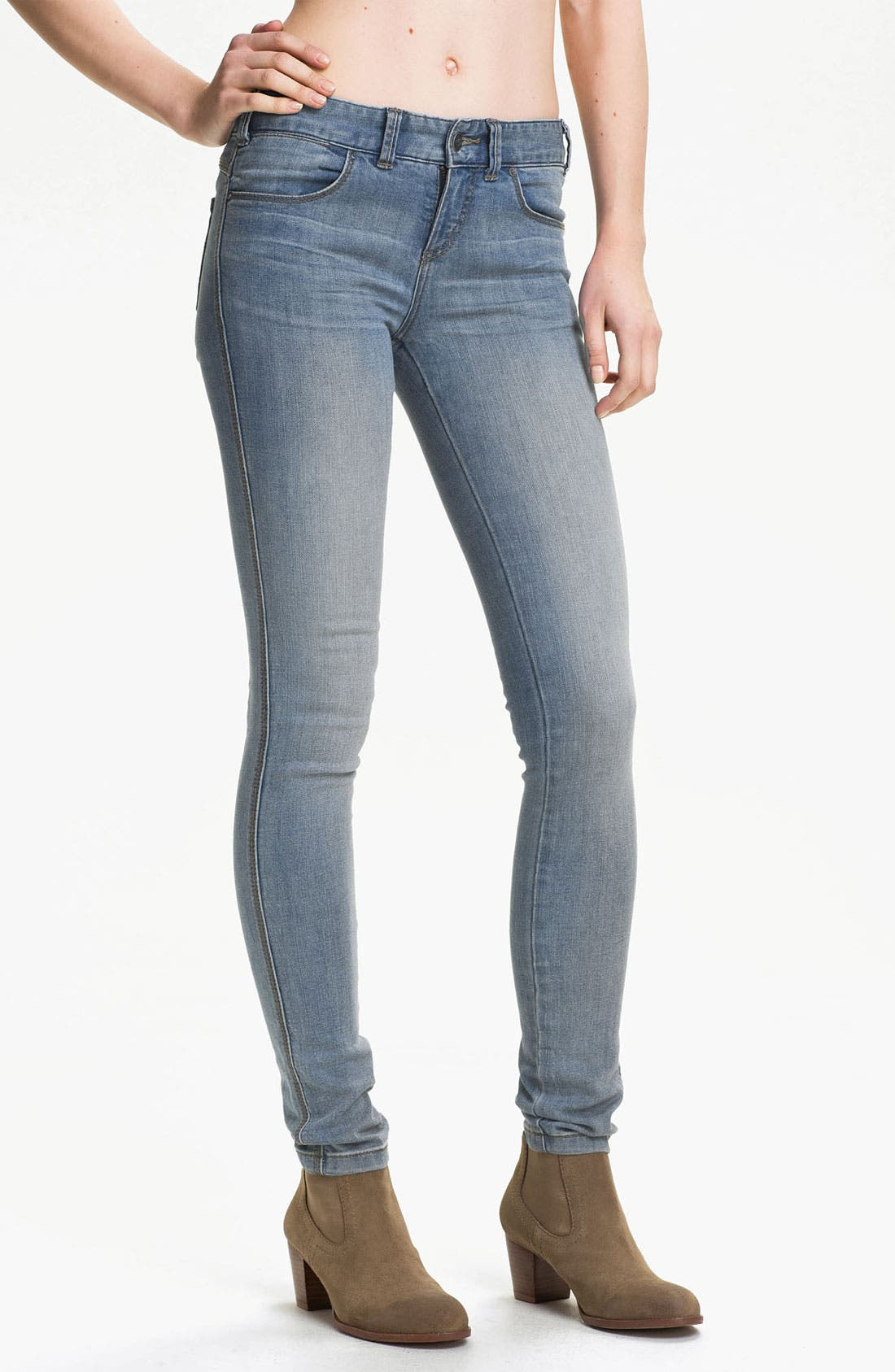 Alternate Image 1 Selected - Free People Stretch Denim Skinny Jeans (Sky Wash)