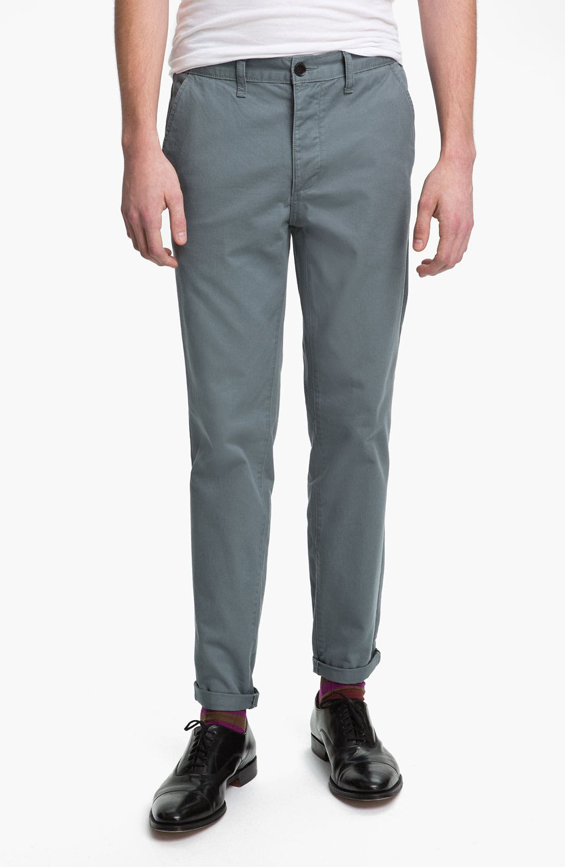 Alternate Image 1 Selected - Topman 'Balsam Green Bauer' Skinny Chinos