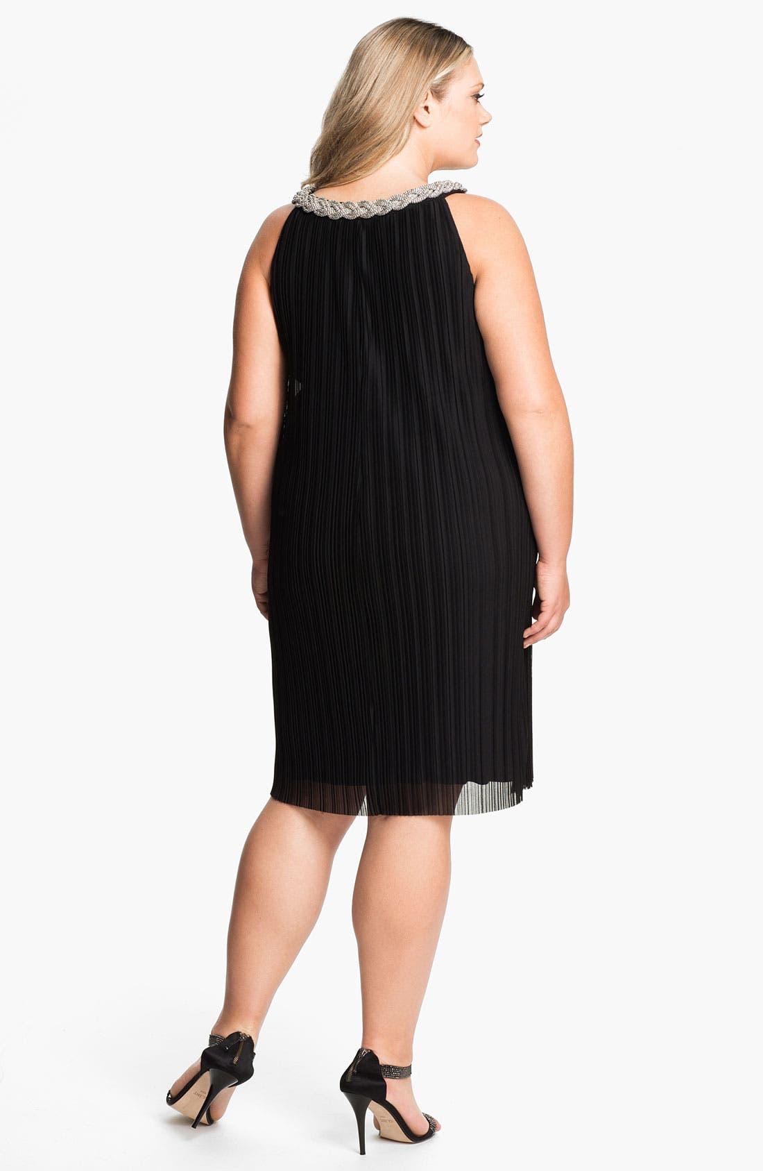 Alternate Image 2  - Donna Ricco Embellished Pleat Mesh Shift Dress (Plus Size)