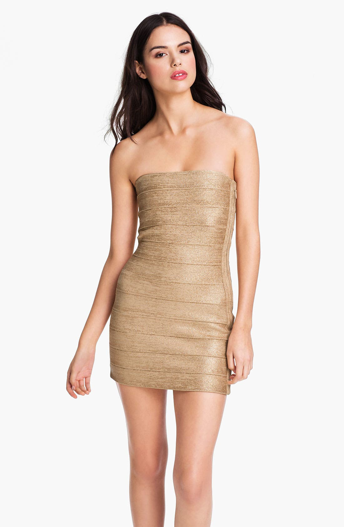 Main Image - Haute Hippie Metallic Bandage Strapless Minidress