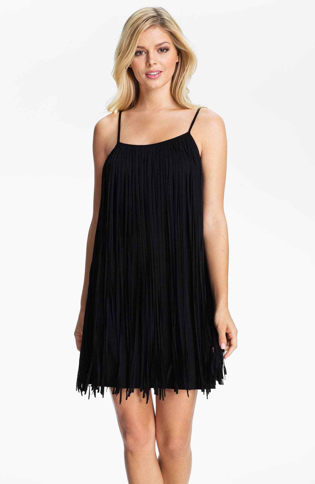 Alternate Image 1 Selected - Badgley Mischka Fringed Cover-Up Dress