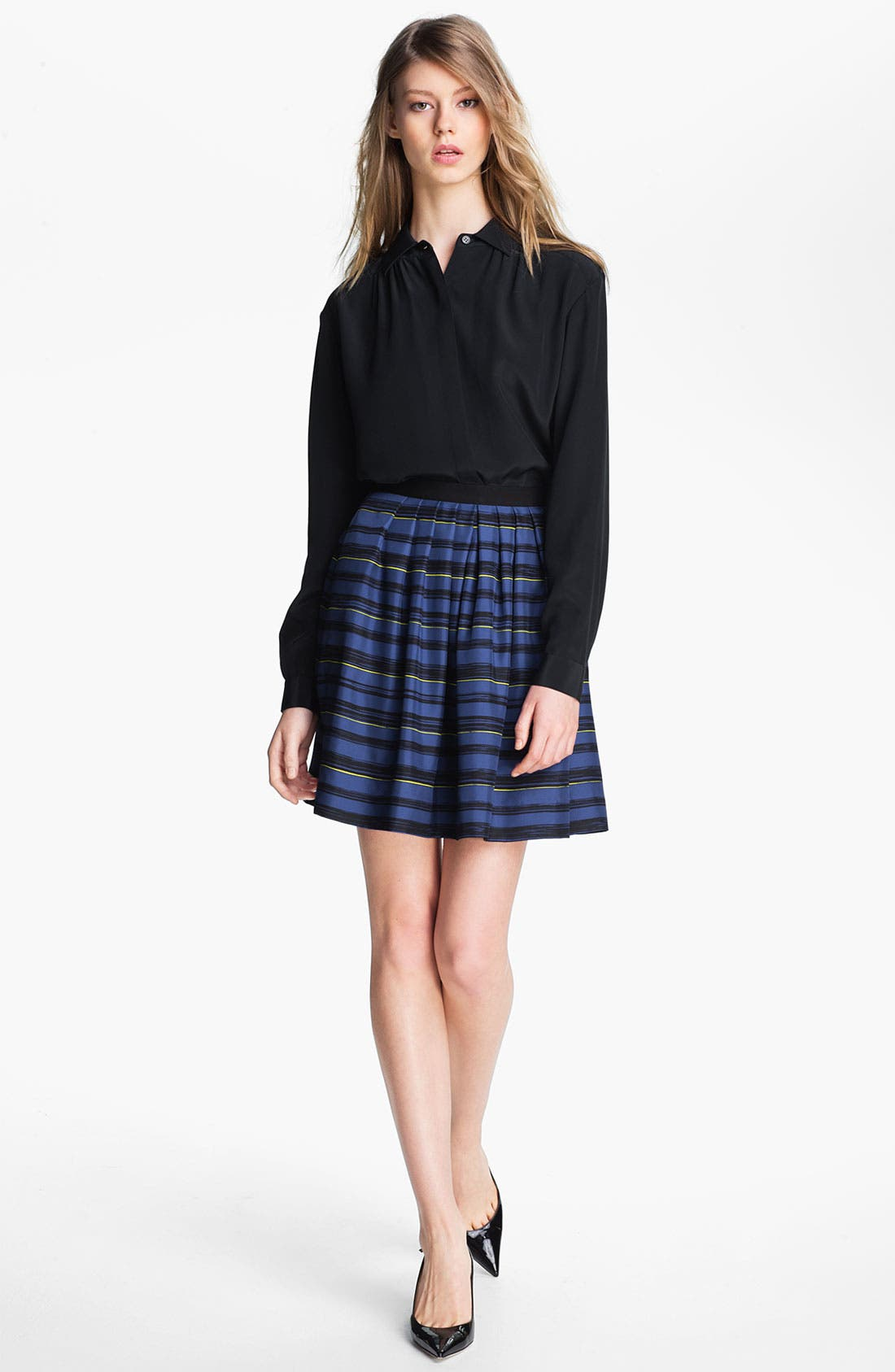 Alternate Image 3  - Miss Wu 'Lush' Stripe Silk Twill Skirt (Nordstrom Exclusive)