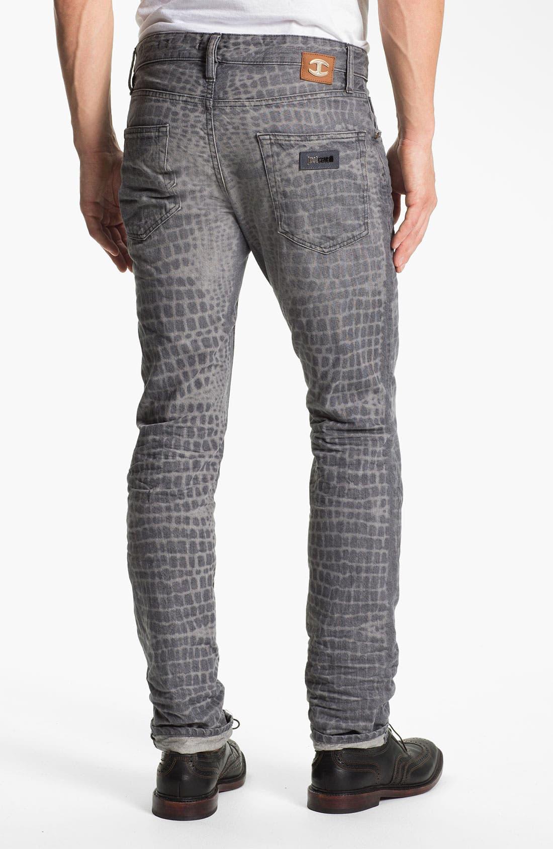 Main Image - Just Cavalli Print Slim Straight Leg Jeans (Grey)