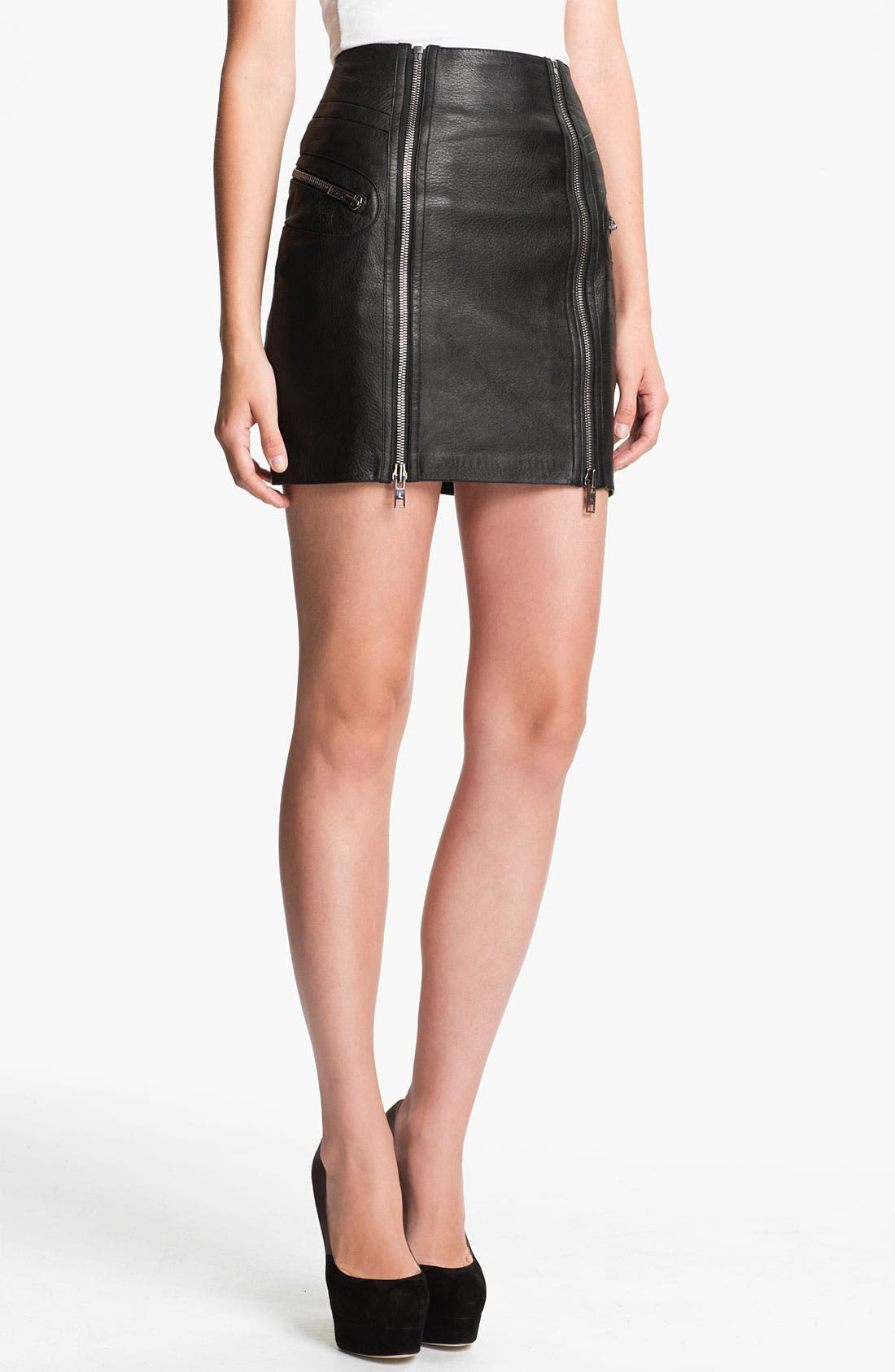 Alternate Image 1 Selected - McQ by Alexander McQueen Double Zip Leather Skirt