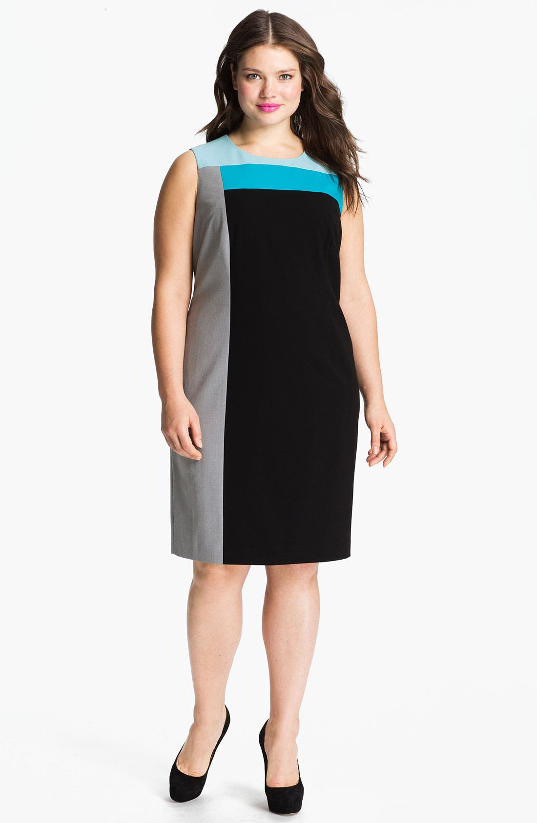 Calvin Klein Colorblock Sheath Dress (Plus)
