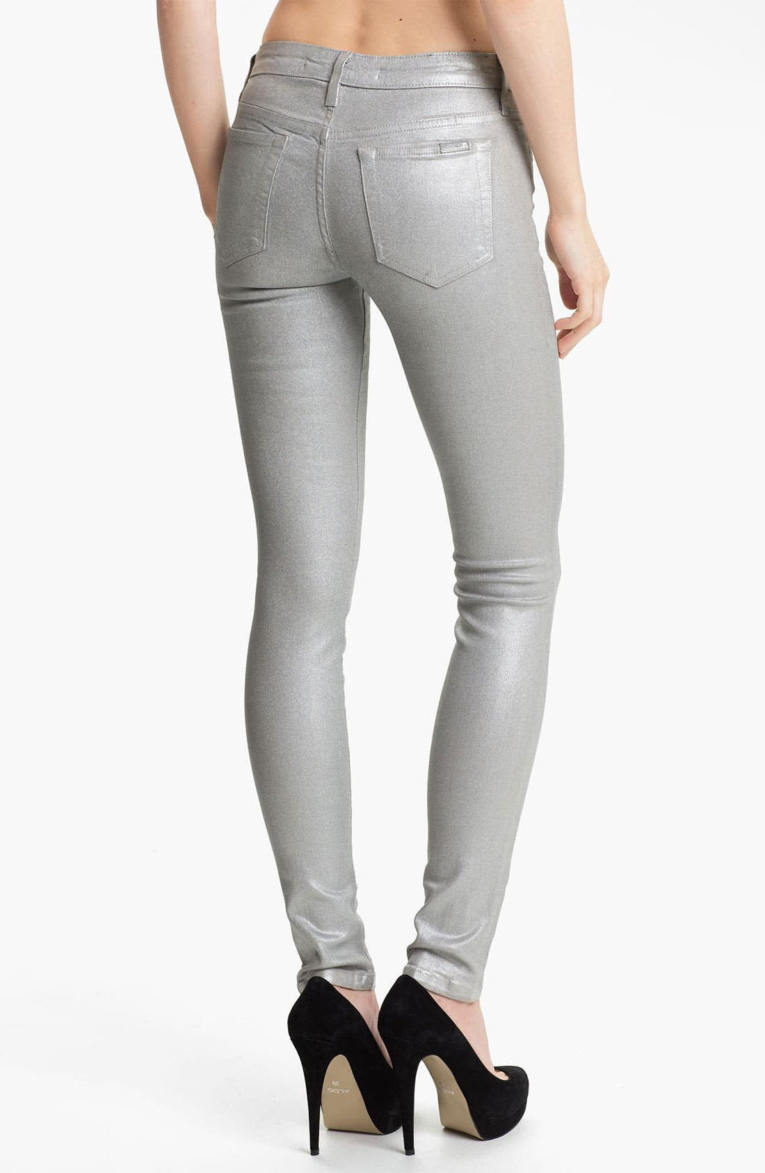 Alternate Image 2  - Joe's Coated Skinny Stretch Jeans (Silver Rock)