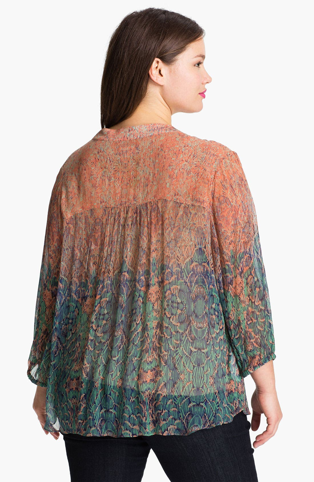 Alternate Image 2  - Lucky Brand 'Sara' Sheer Deco Print Top (Plus)