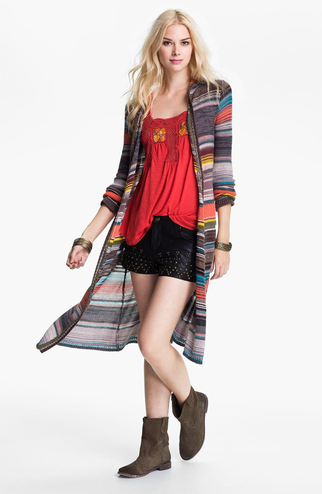 Alternate Image 1 Selected - Free People 'Serape Stripe' Hooded Cardigan