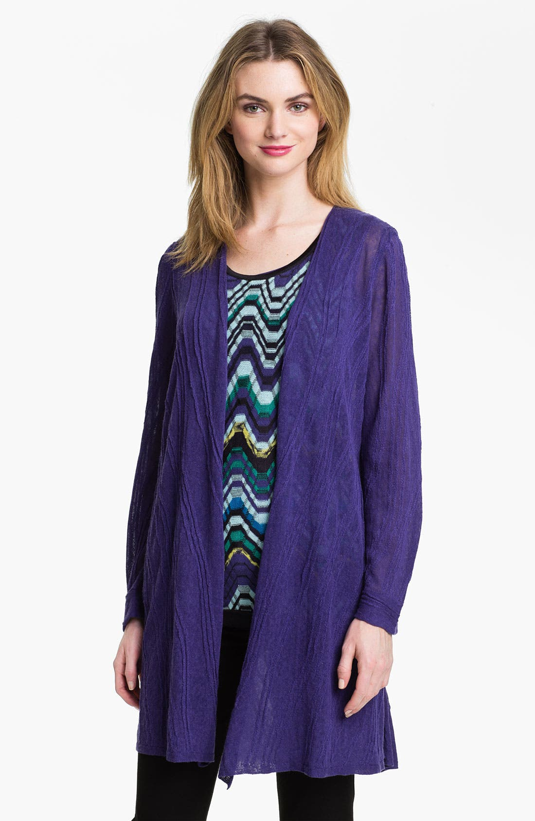 Main Image - Nic + Zoe 'Wave' Textured Long Cardigan