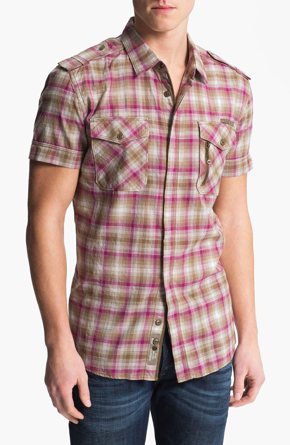 Alternate Image 1 Selected - DIESEL® 'Studder' Plaid Woven Shirt
