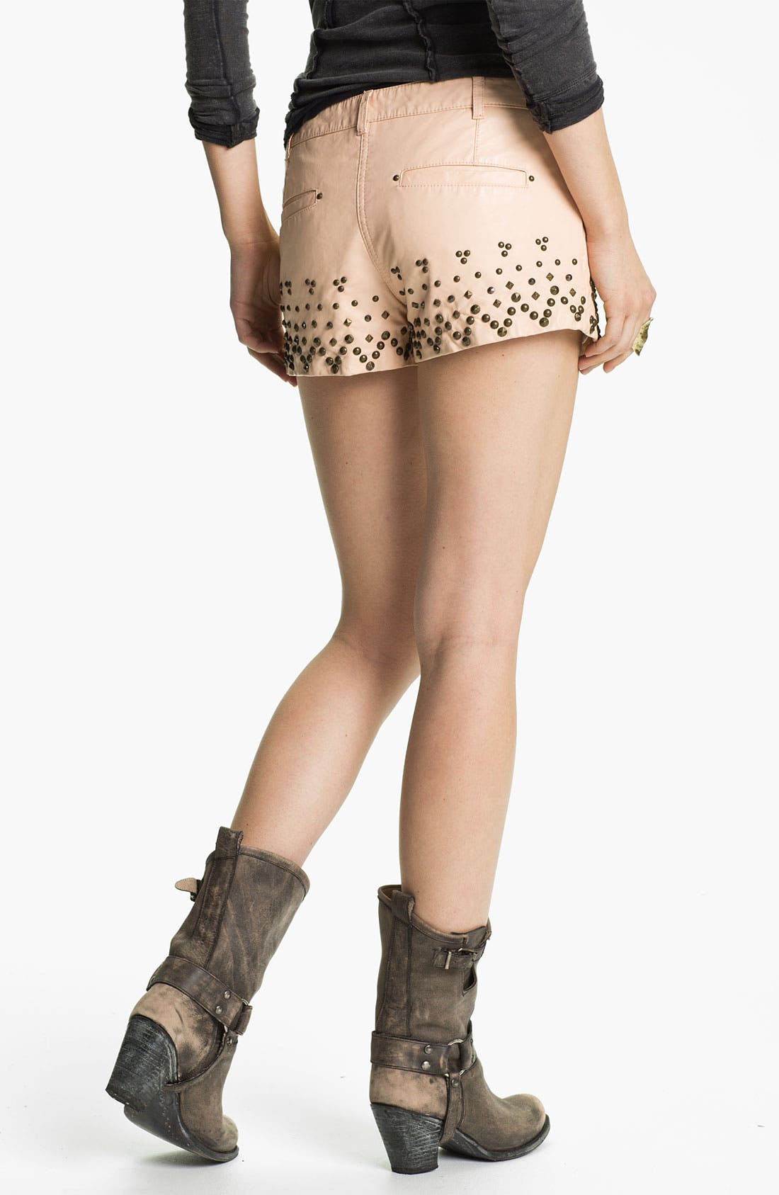 Alternate Image 2  - Free People Studded Faux Leather Shorts