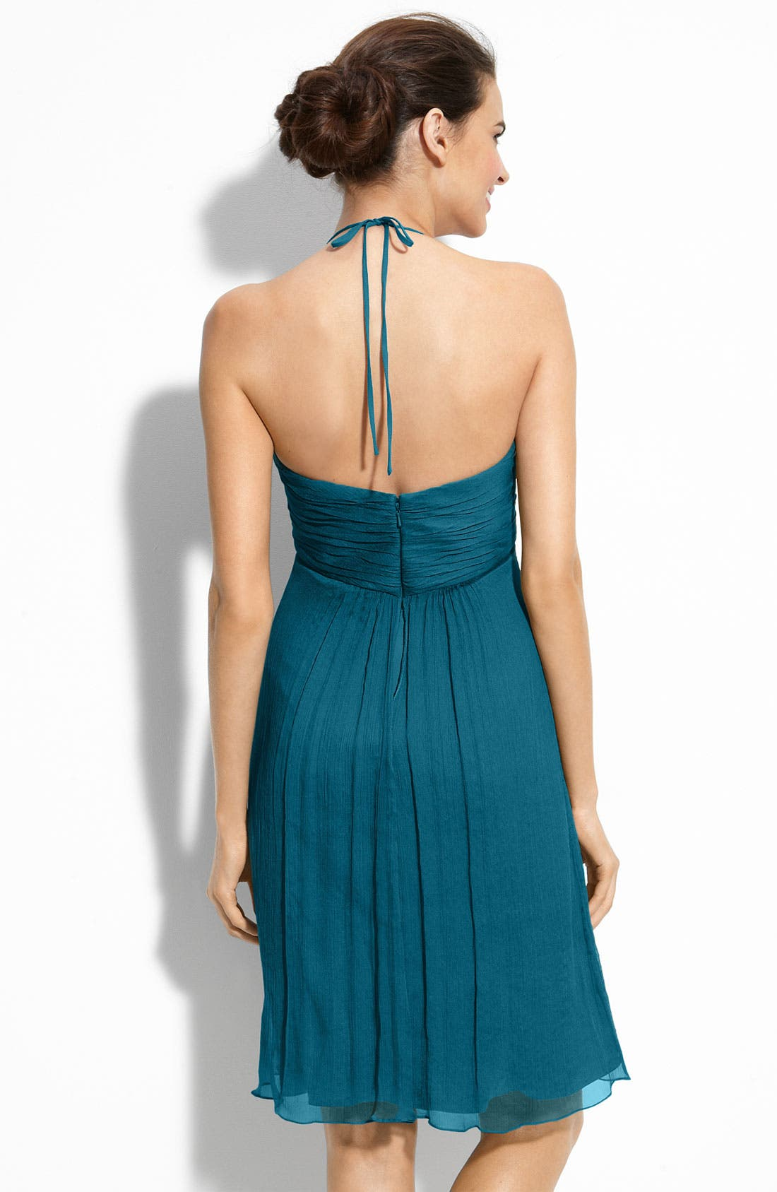 Alternate Image 2  - Amsale Chiffon Halter Dress