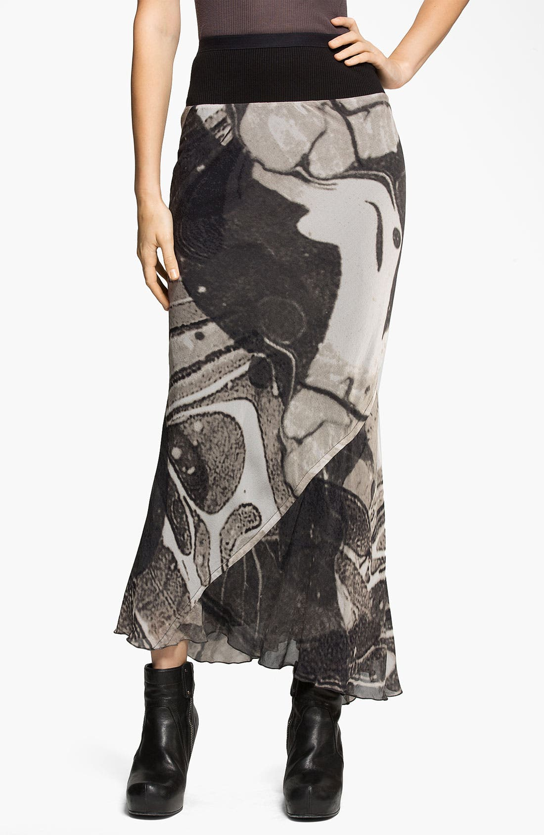 Main Image - Rick Owens Long Print Georgette Skirt