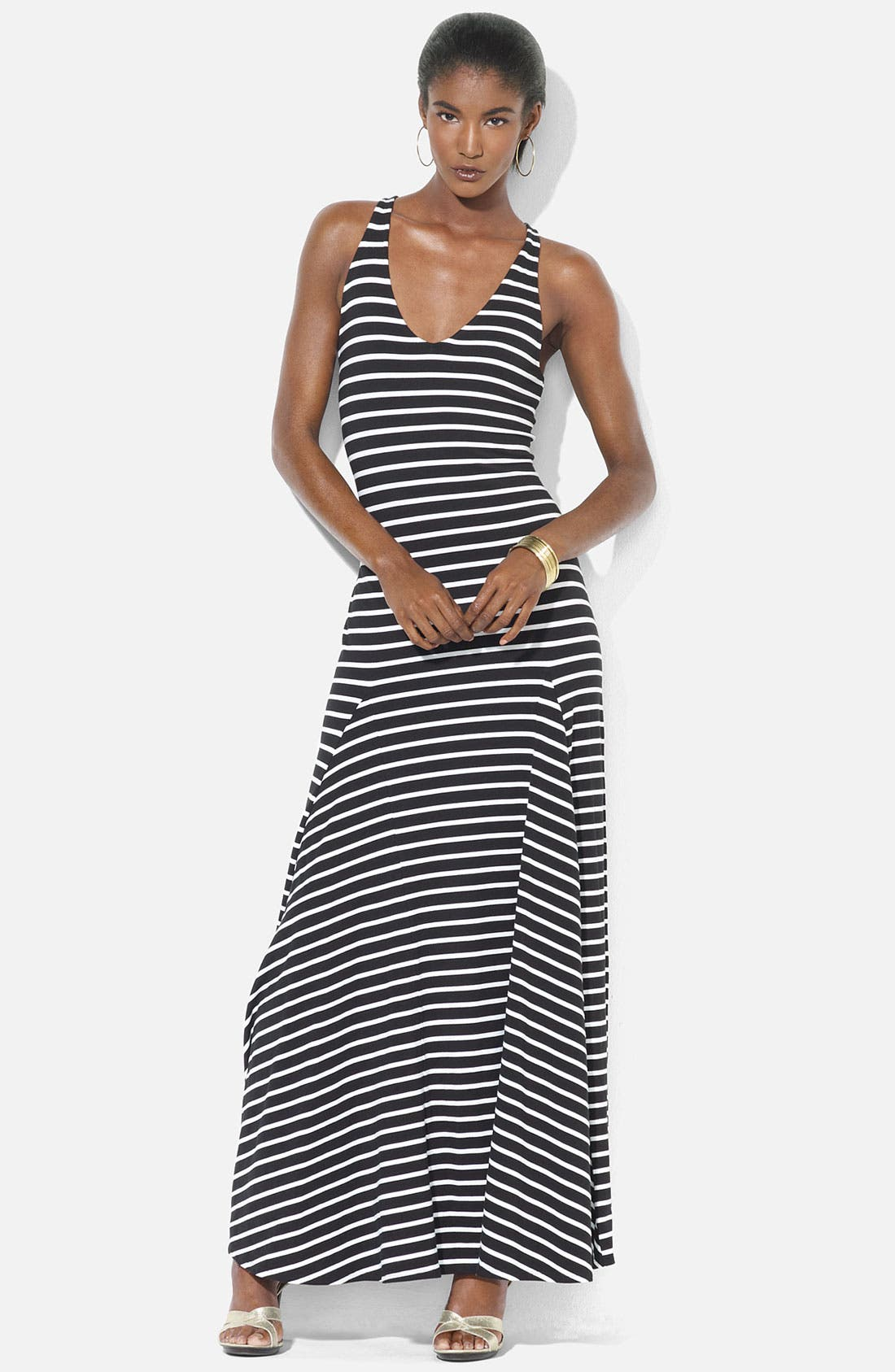 Main Image - Lauren Ralph Lauren Stripe Maxi Dress (Petite)