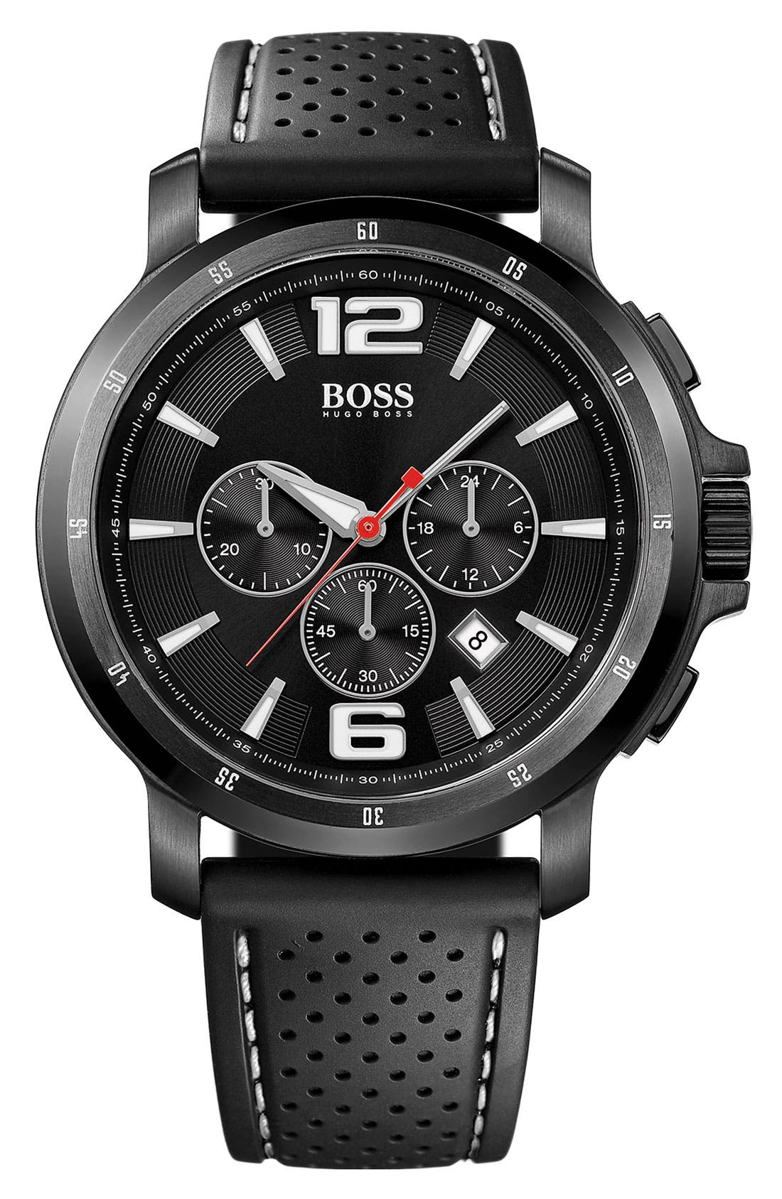 Alternate Image 1 Selected - ROUND SPORT CHRONOGRAPH WATCH W/ SILICONE STRAP