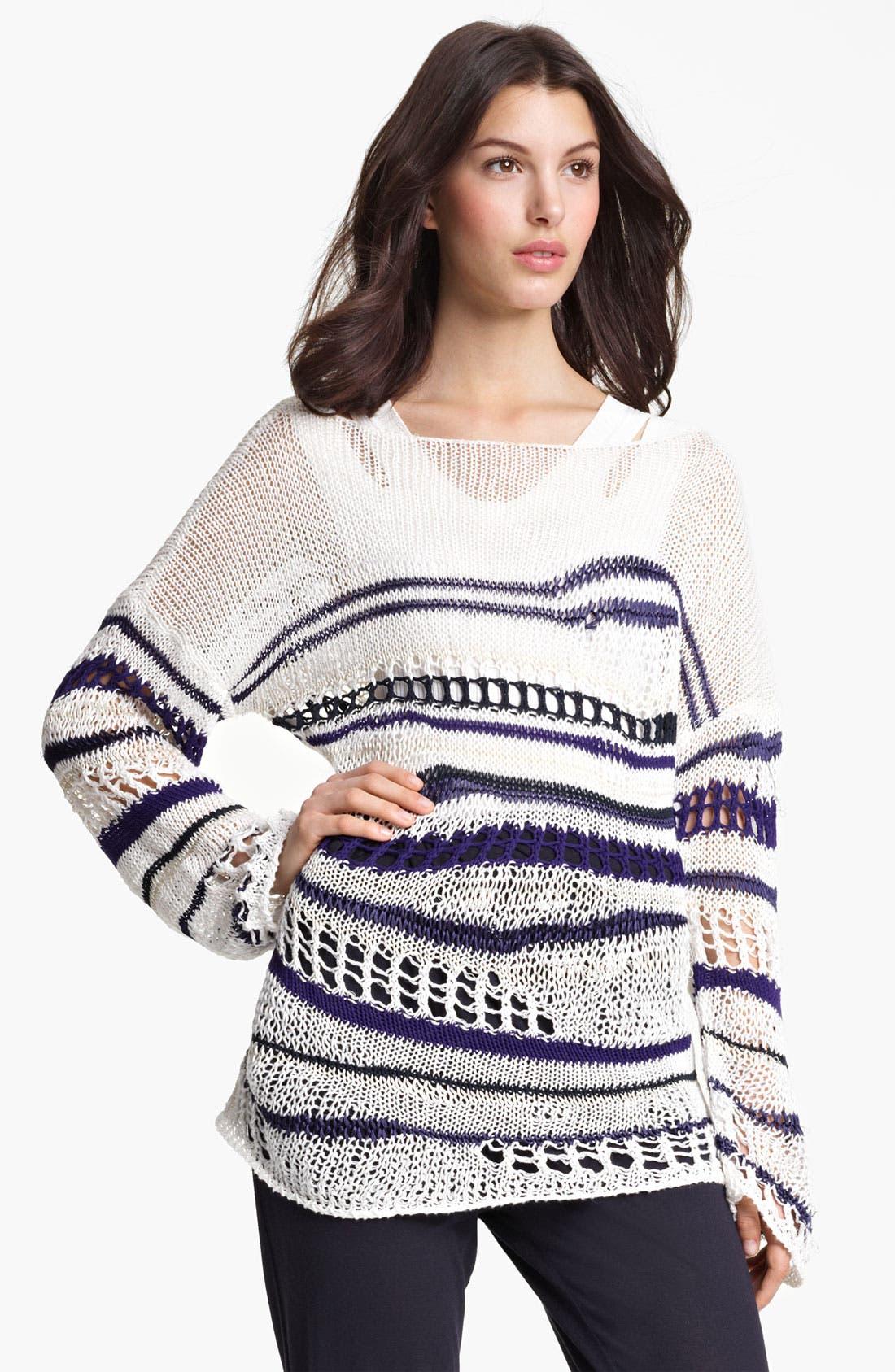 Alternate Image 1 Selected - Jean Paul Gaultier Fuzzi Stripe Open Knit Sweater