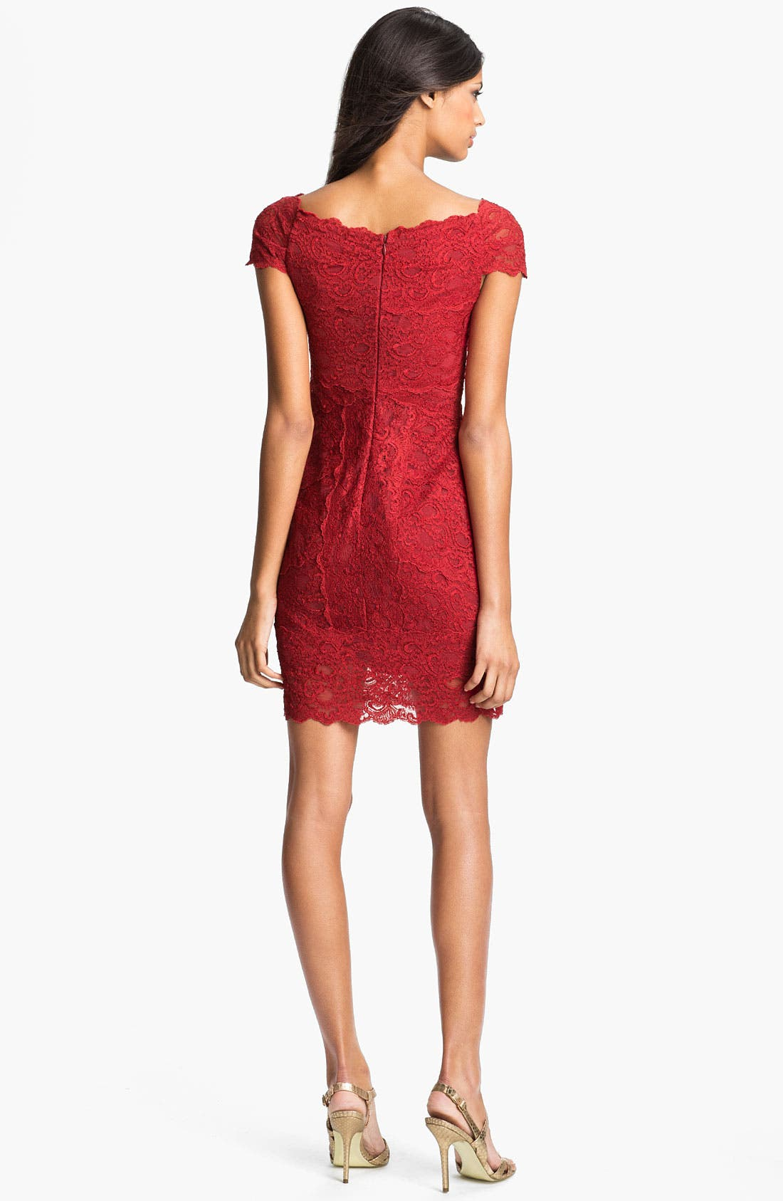 Alternate Image 2  - Nicole Miller Front Twist Lace Sheath Dress