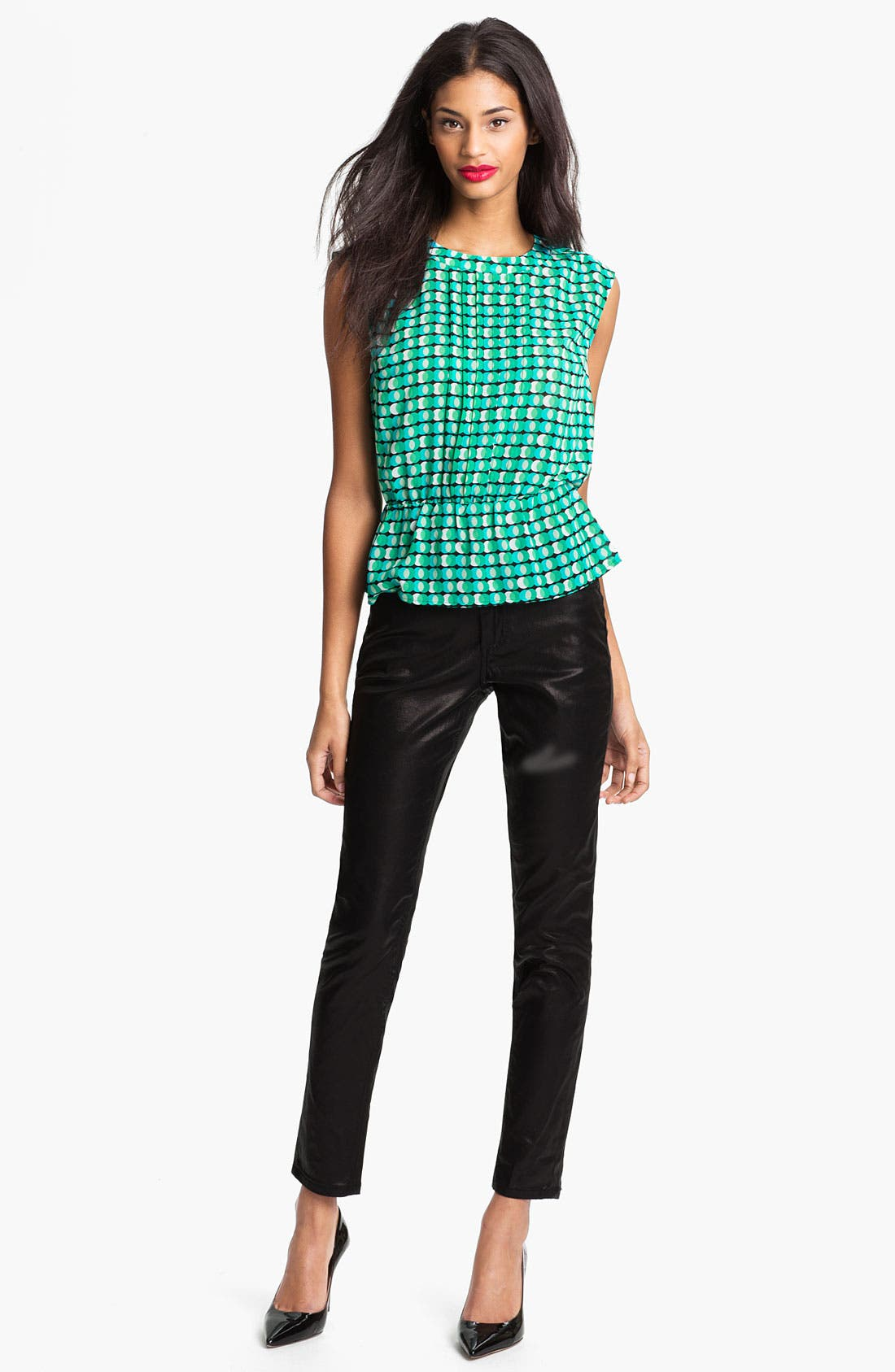 Alternate Image 2  - Halogen® Pleat Front Peplum Blouse (Petite)