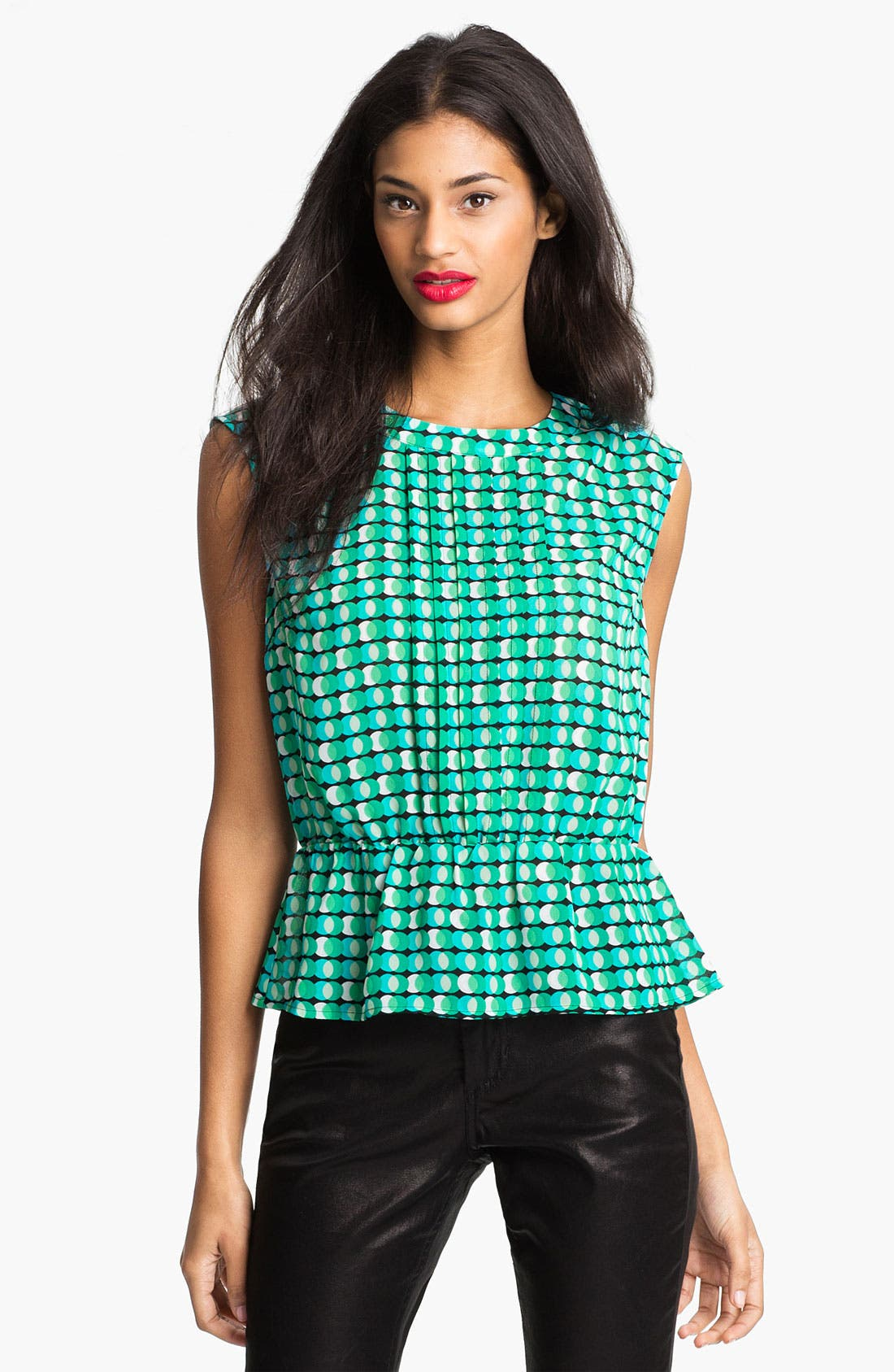 Alternate Image 1 Selected - Halogen® Pleat Front Peplum Blouse (Petite)