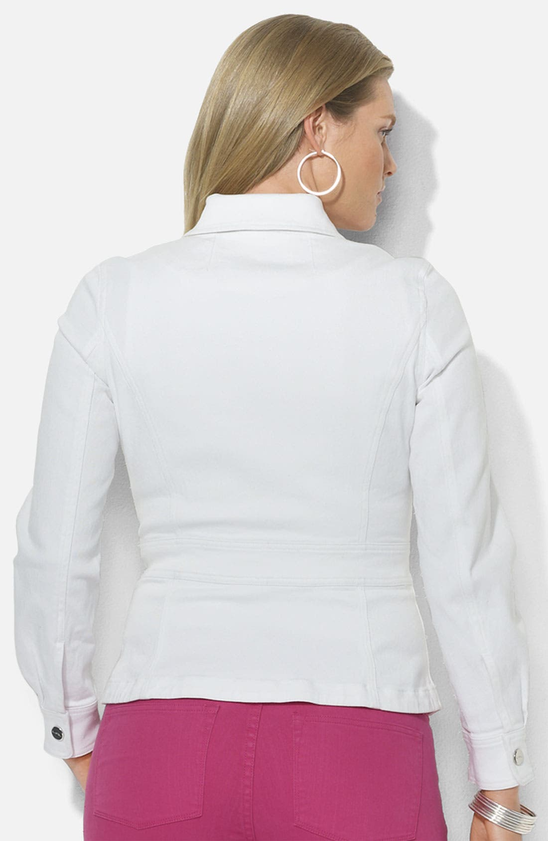 Alternate Image 2  - Lauren Ralph Lauren Fitted Stretch Denim Jacket (Plus)
