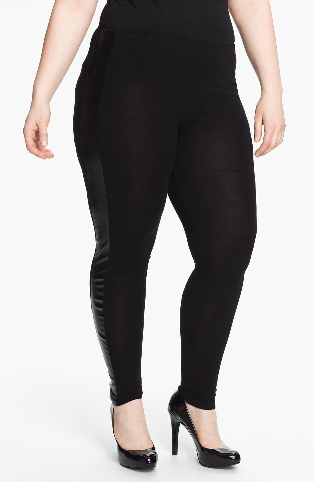 Alternate Image 1 Selected - Evans Faux Leather Trim Leggings (Plus Size)