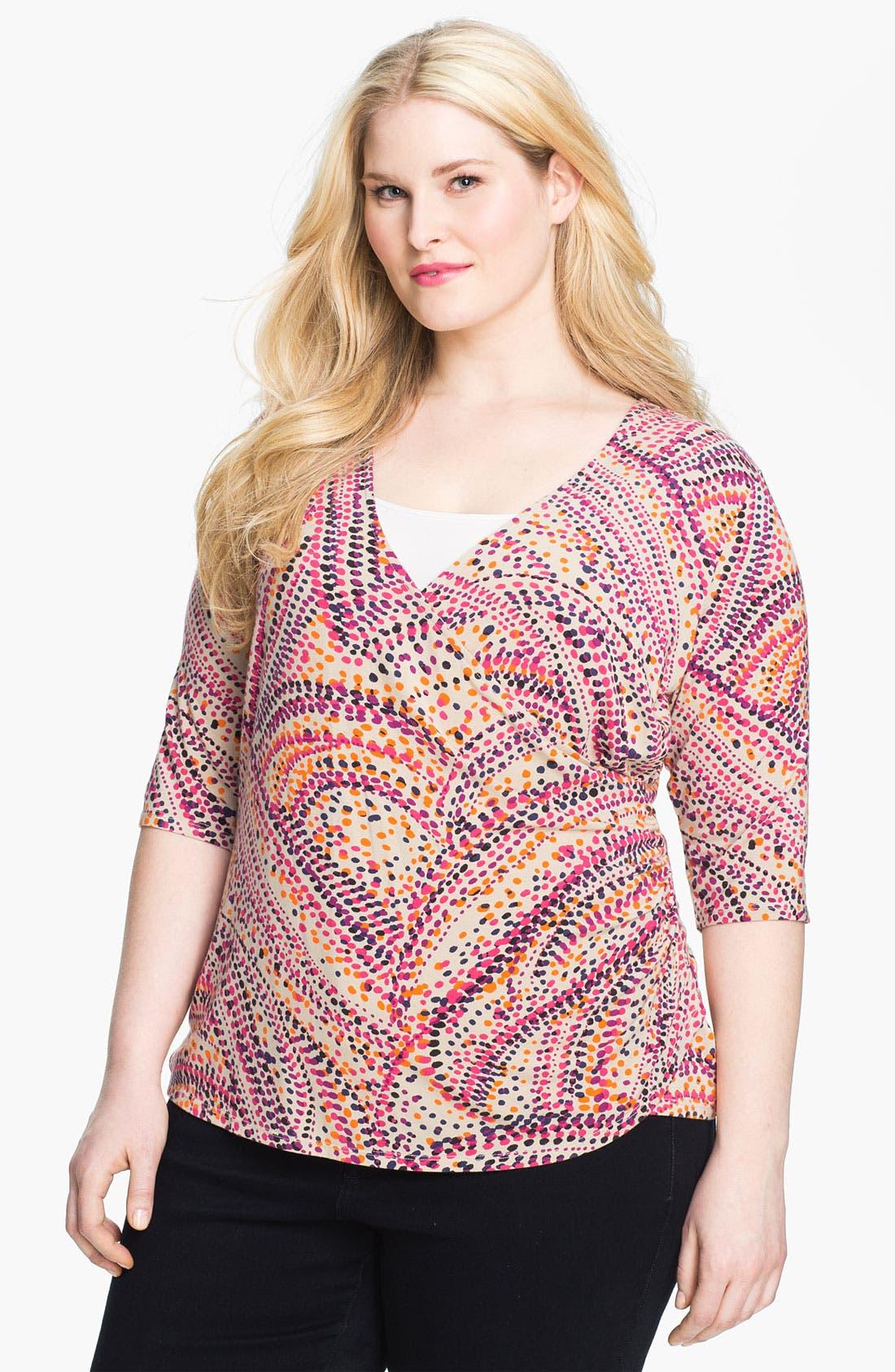 Alternate Image 1 Selected - Sejour 'Essential' Surplice Knit Top (Plus)