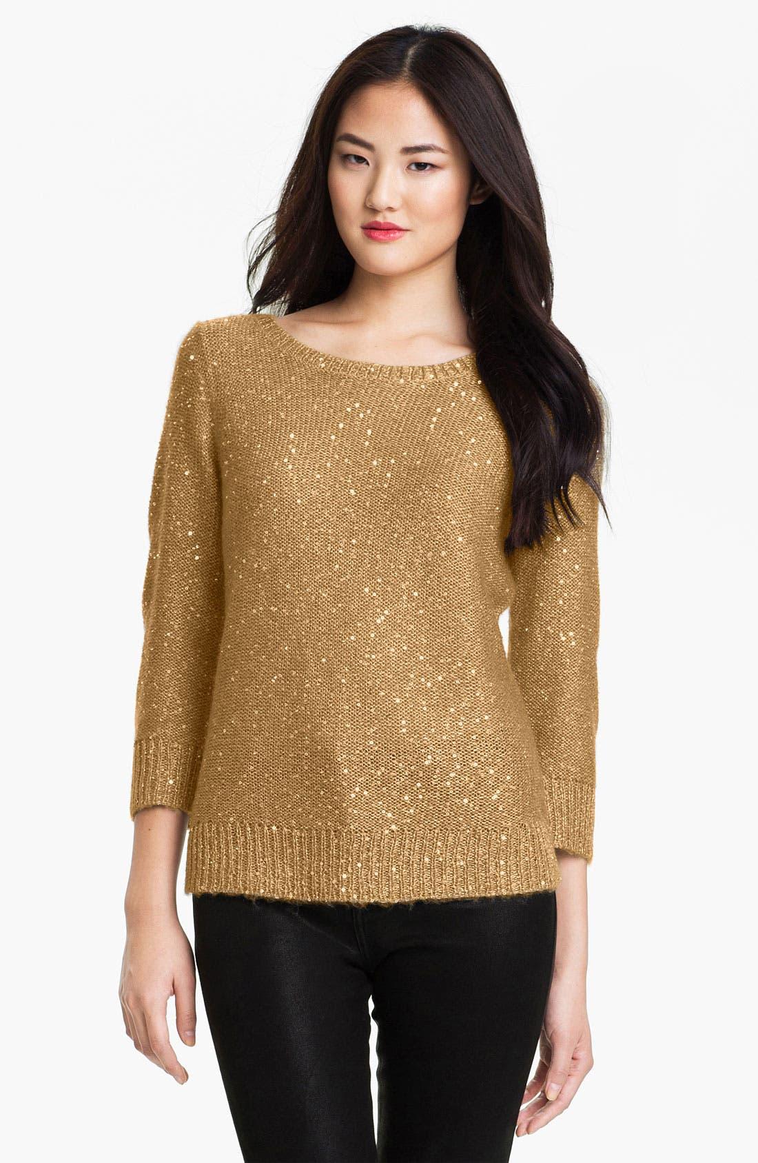 Main Image - Anne Klein Bateau Neck Sequin Sweater (Petite)