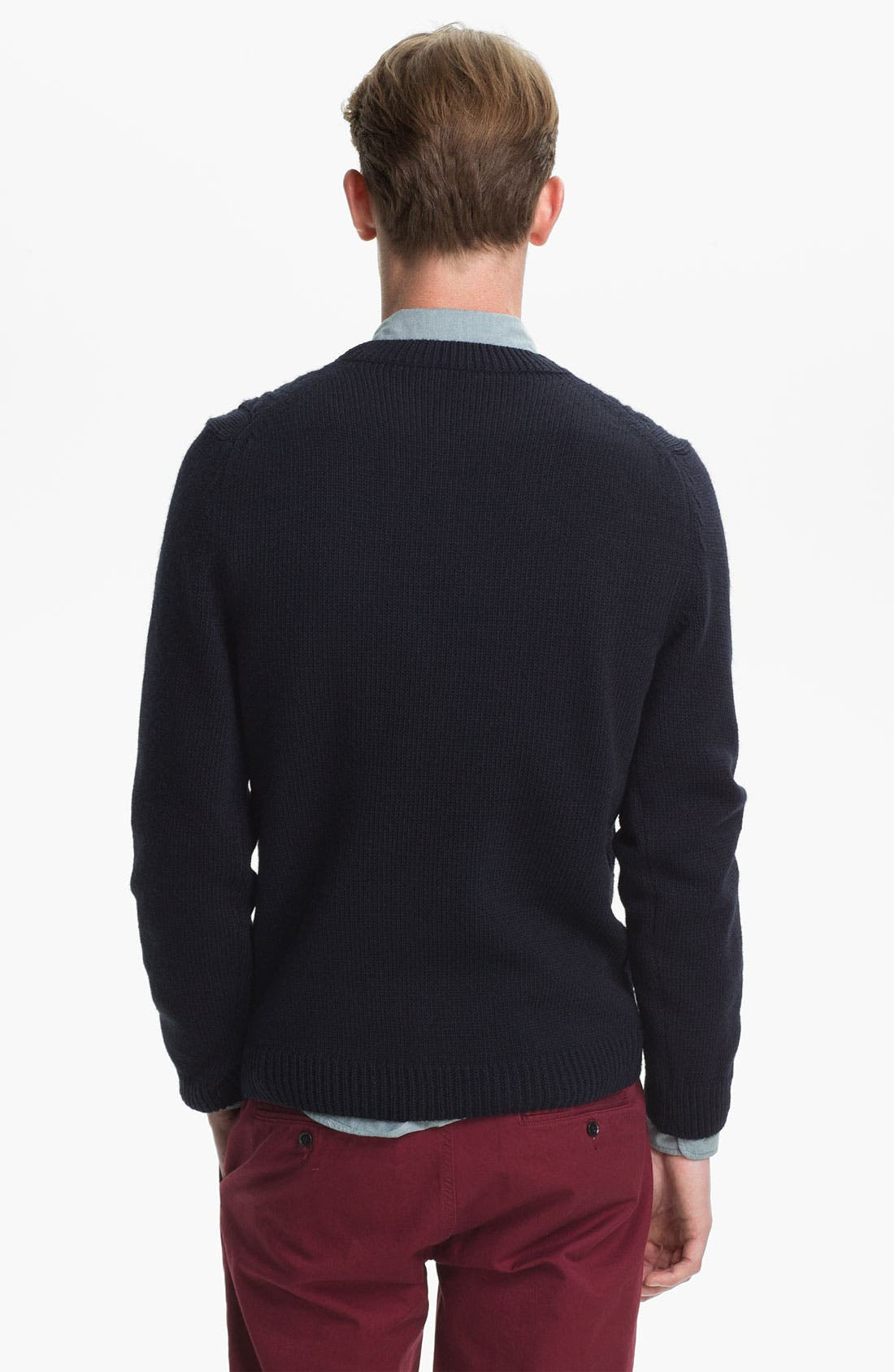 Alternate Image 2  - Topman Cable Knit Crewneck Sweater
