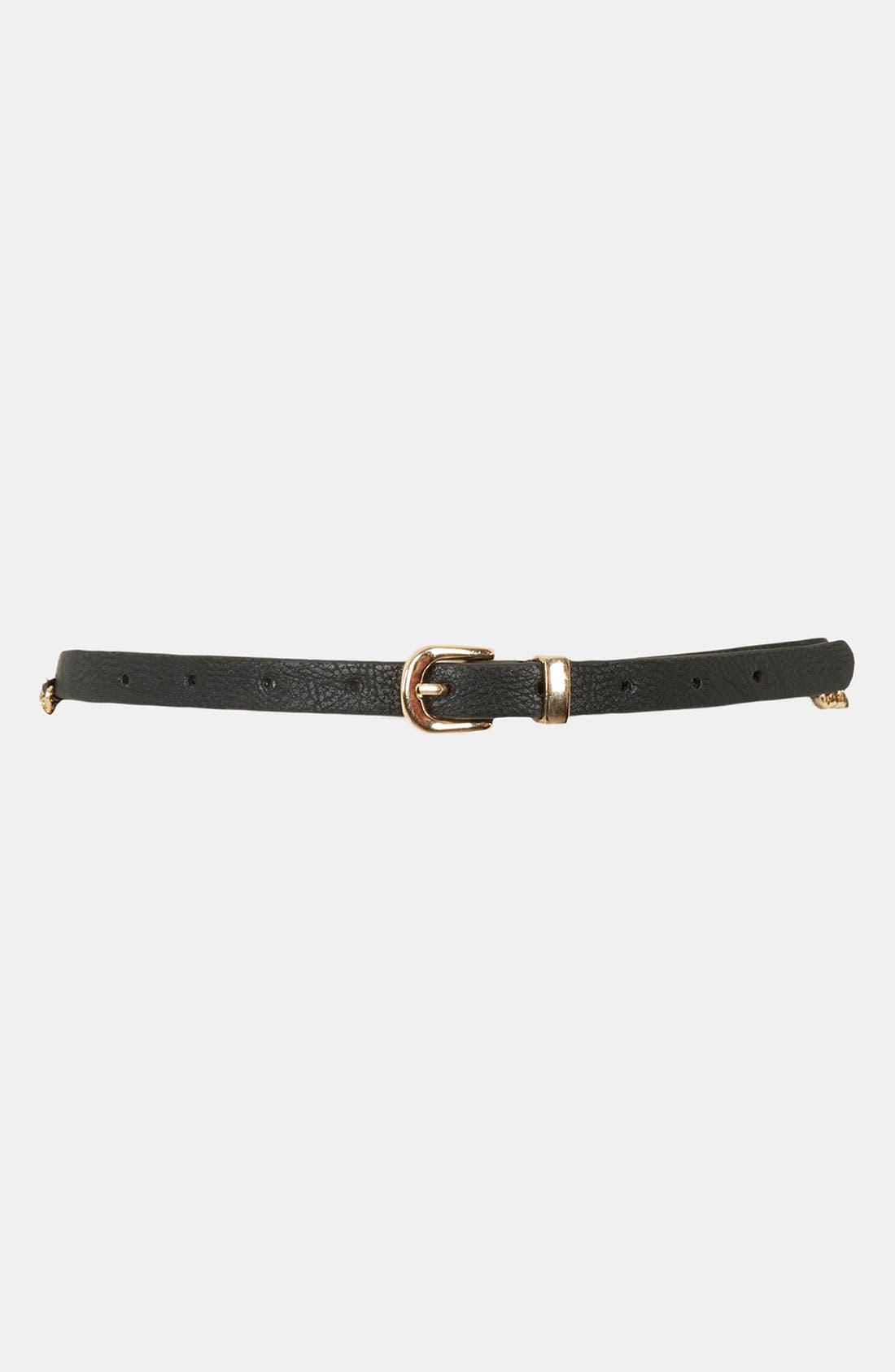 Alternate Image 1 Selected - Topshop Chain Stitch Skinny Belt