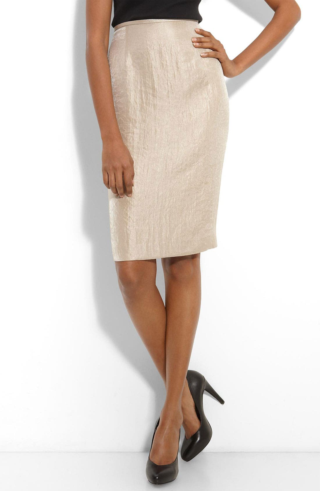 Main Image - Adrianna Papell Metallic Textured Pencil Skirt (Petite)