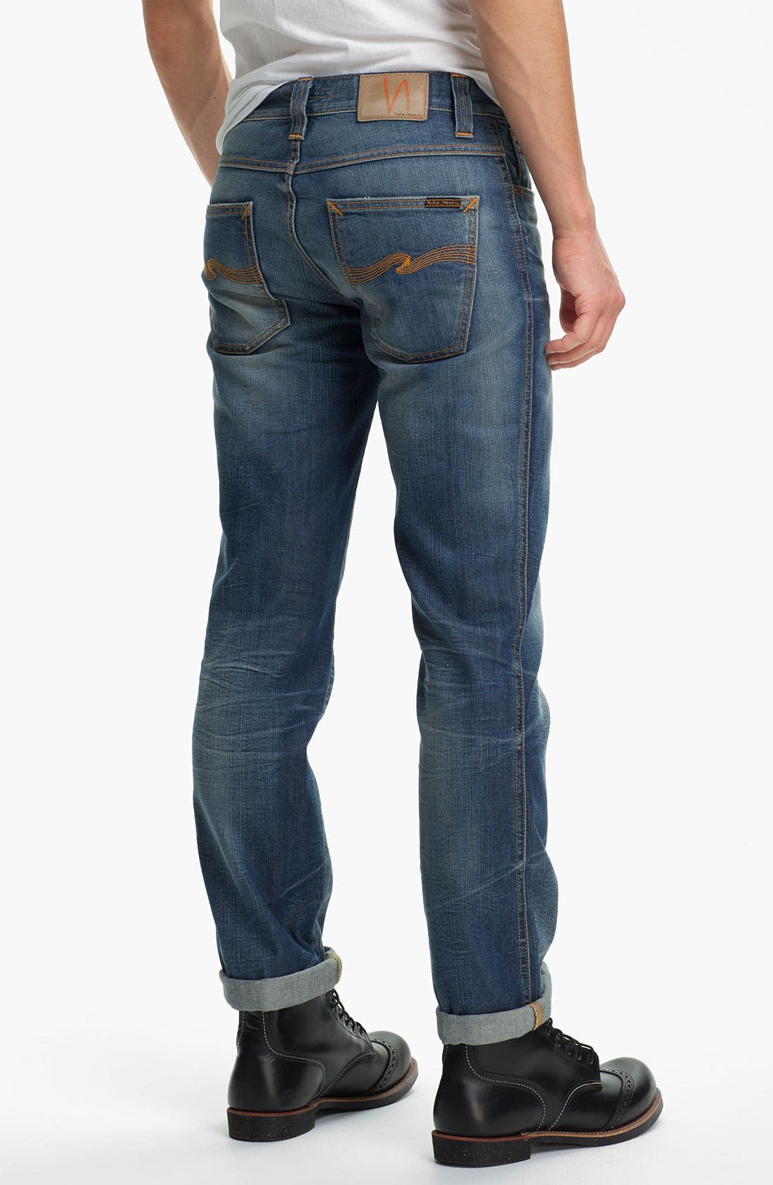 Alternate Image 1 Selected - Nudie 'Slim Jim' Slim Straight Leg Jeans (Organic Broken Dream)