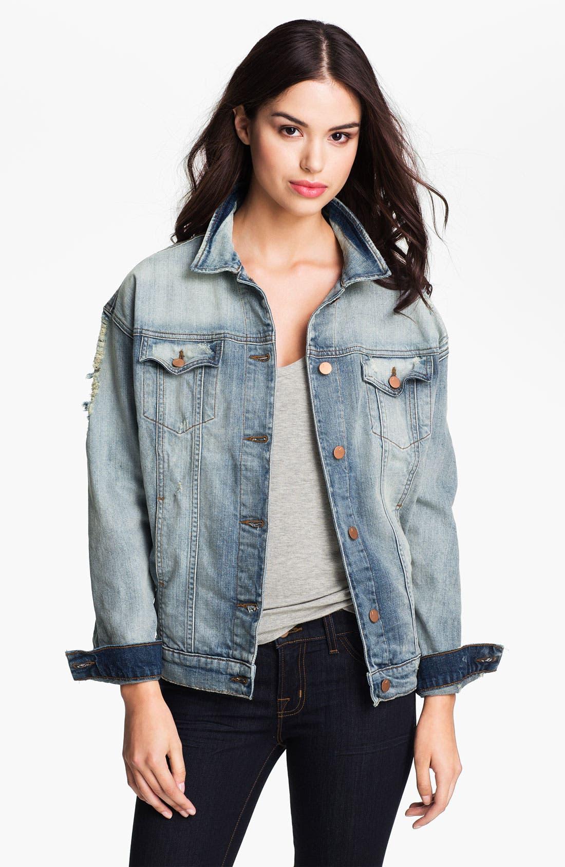 Alternate Image 1 Selected - J Brand 'Boyfriend' Destroyed Denim Jacket (Wasted)