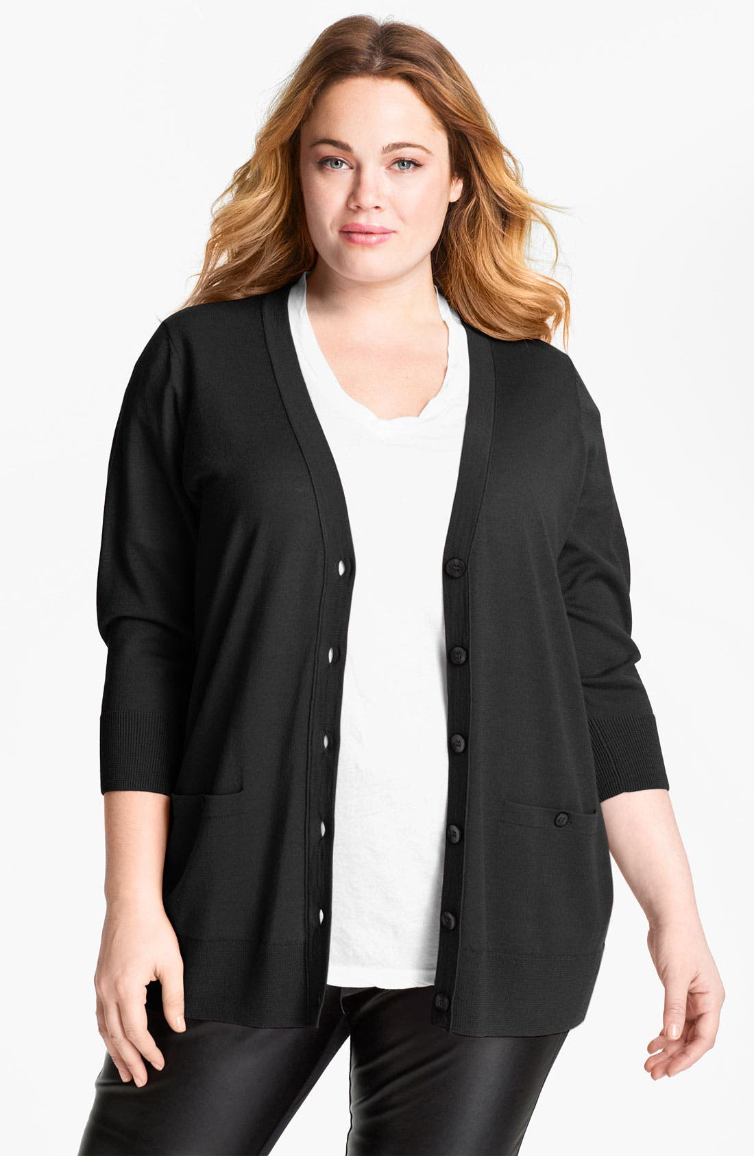 'Girlfriend' Three Quarter Sleeve Cardigan,                         Main,                         color, Black