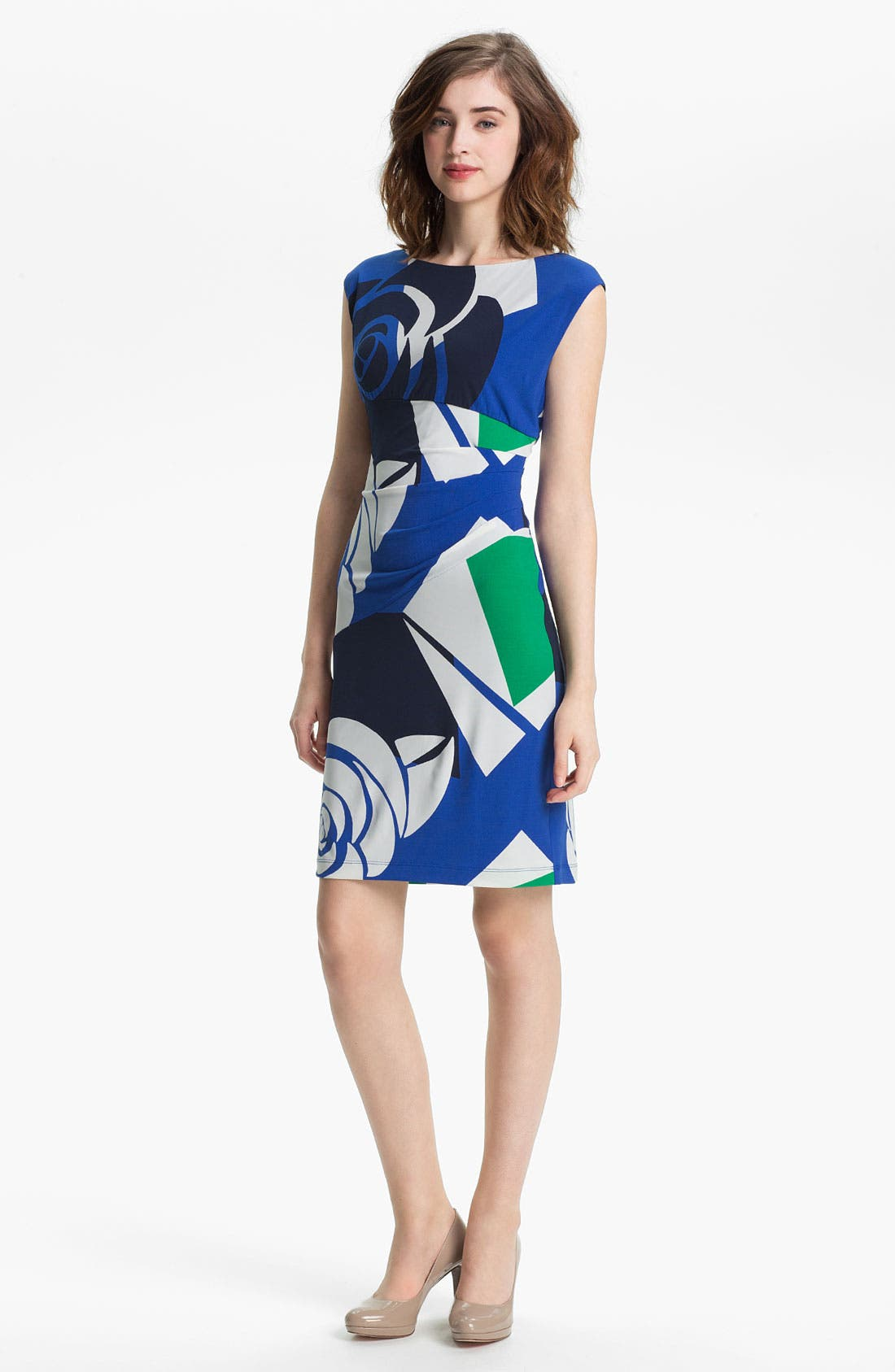 Alternate Image 1 Selected - Donna Morgan Gathered Print Sheath Dress